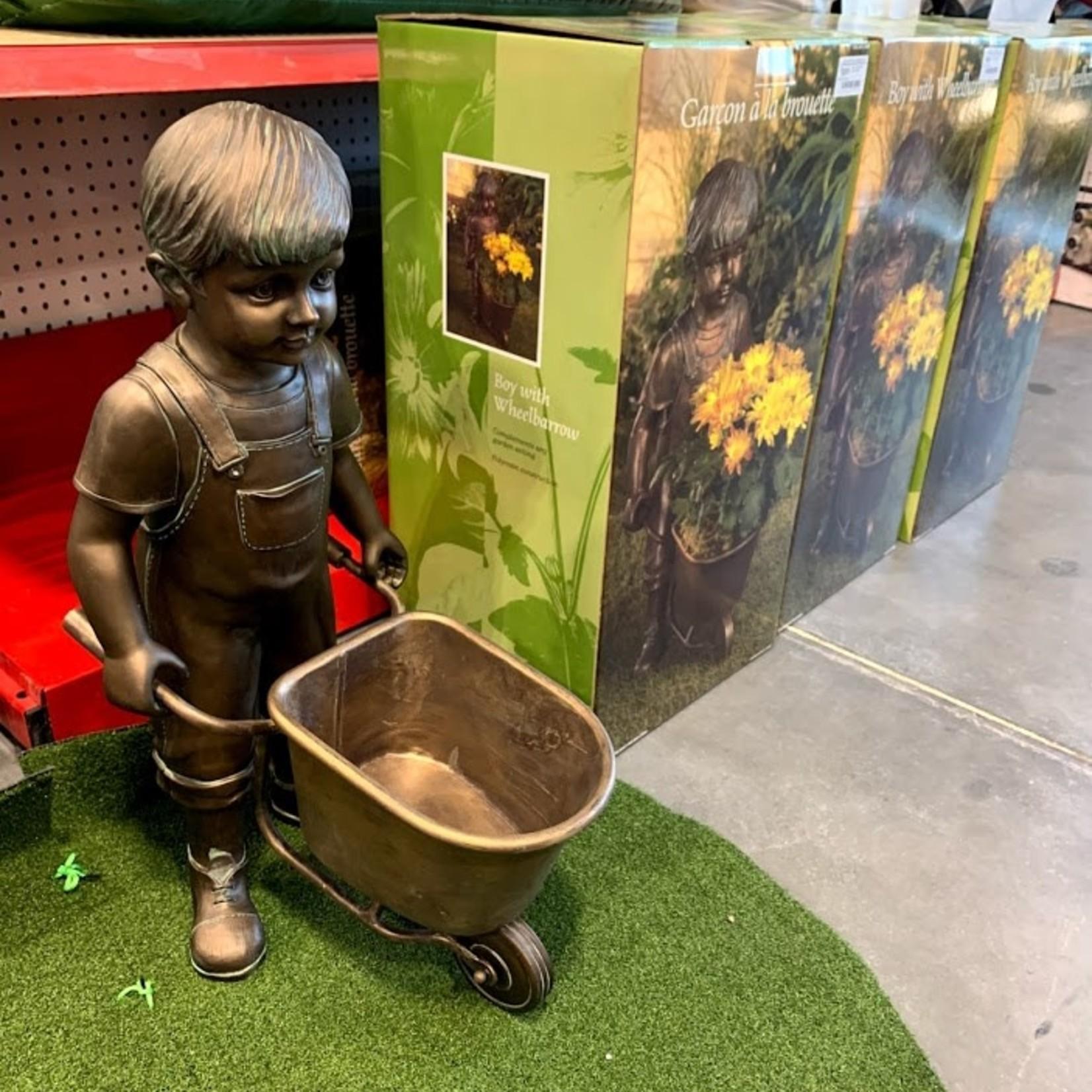 Boy with Wheelbarrow Garden Planter