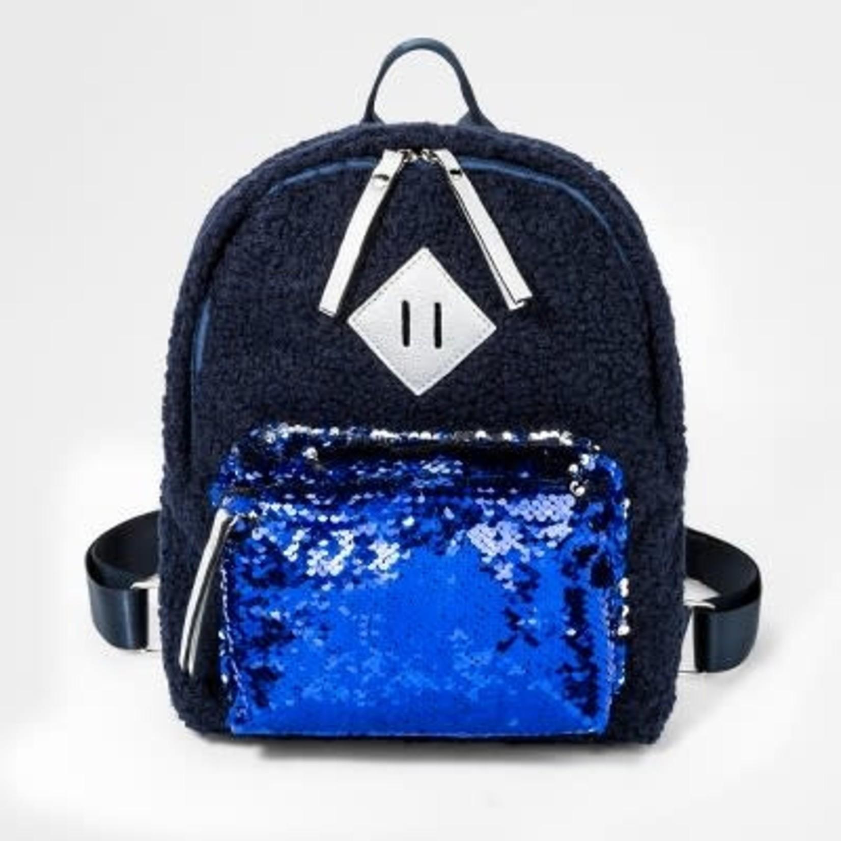 Girls' Sherpa Sequin Pocket Mini Backpack - Cat & Jack™ Navy