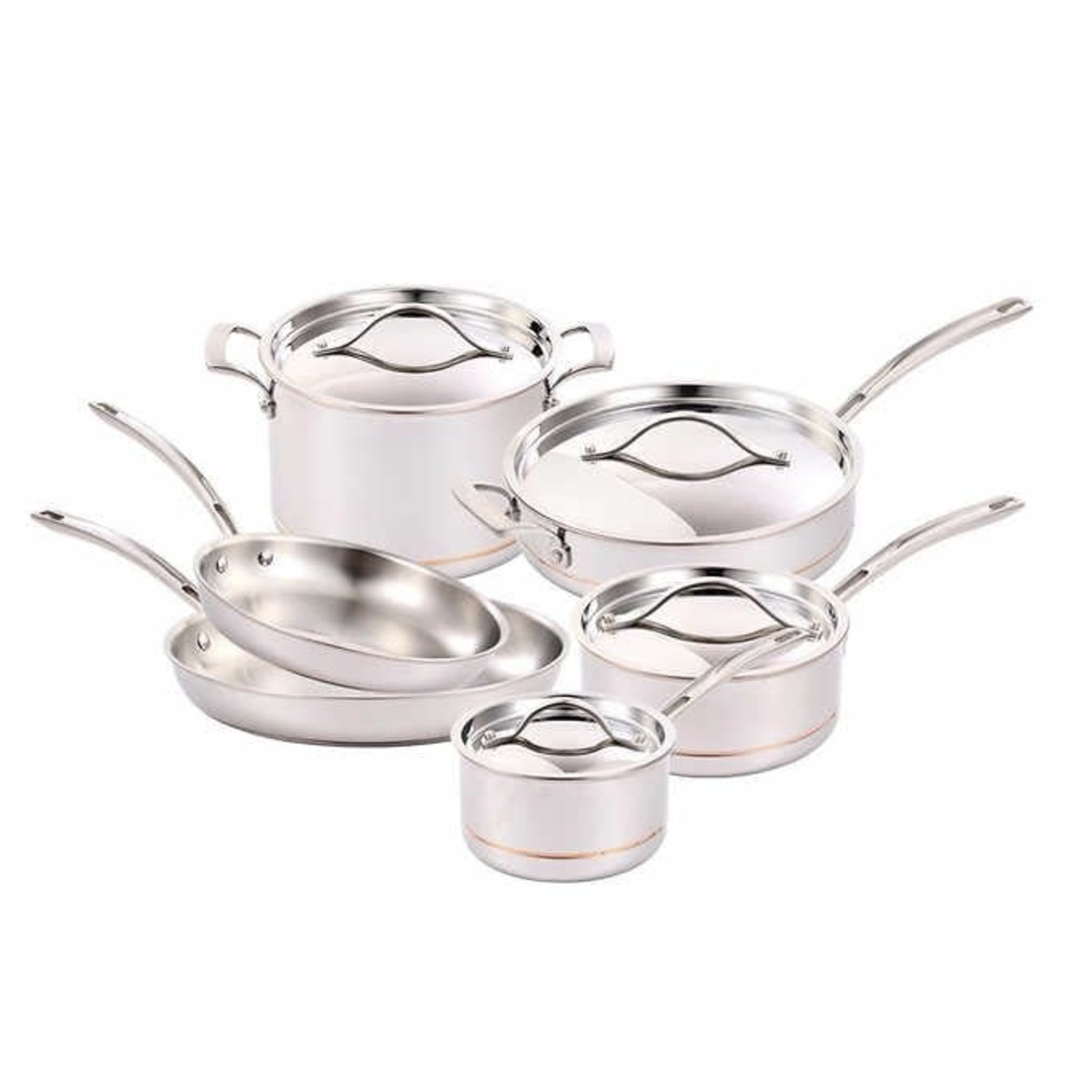 Kirkland Signature 10PC Stainless Steel 5-PLY Clad Cookware Set *Open box, Some pieces gently used