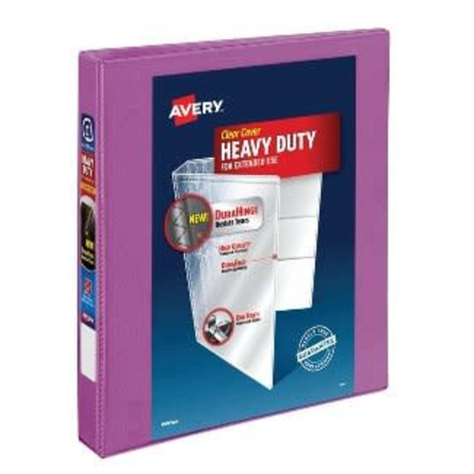"""Avery 1"""" Heavy Duty Ring Binder with Clear Cover, 8.5"""" x 11"""" - Orchid"""