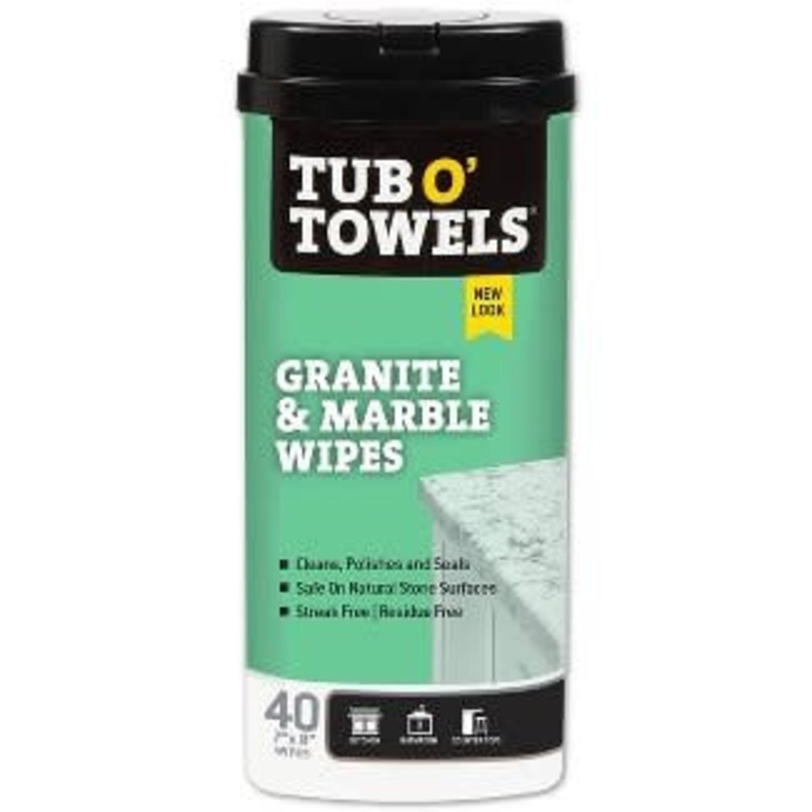 Tub O' Towels Granite & Marble Wipes - 40ct