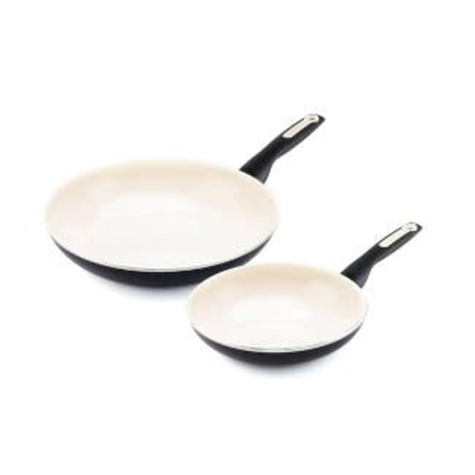 """GreenPan Rio 8"""" and 11"""" Ceramic Non-Stick Breakfast Set Black"""