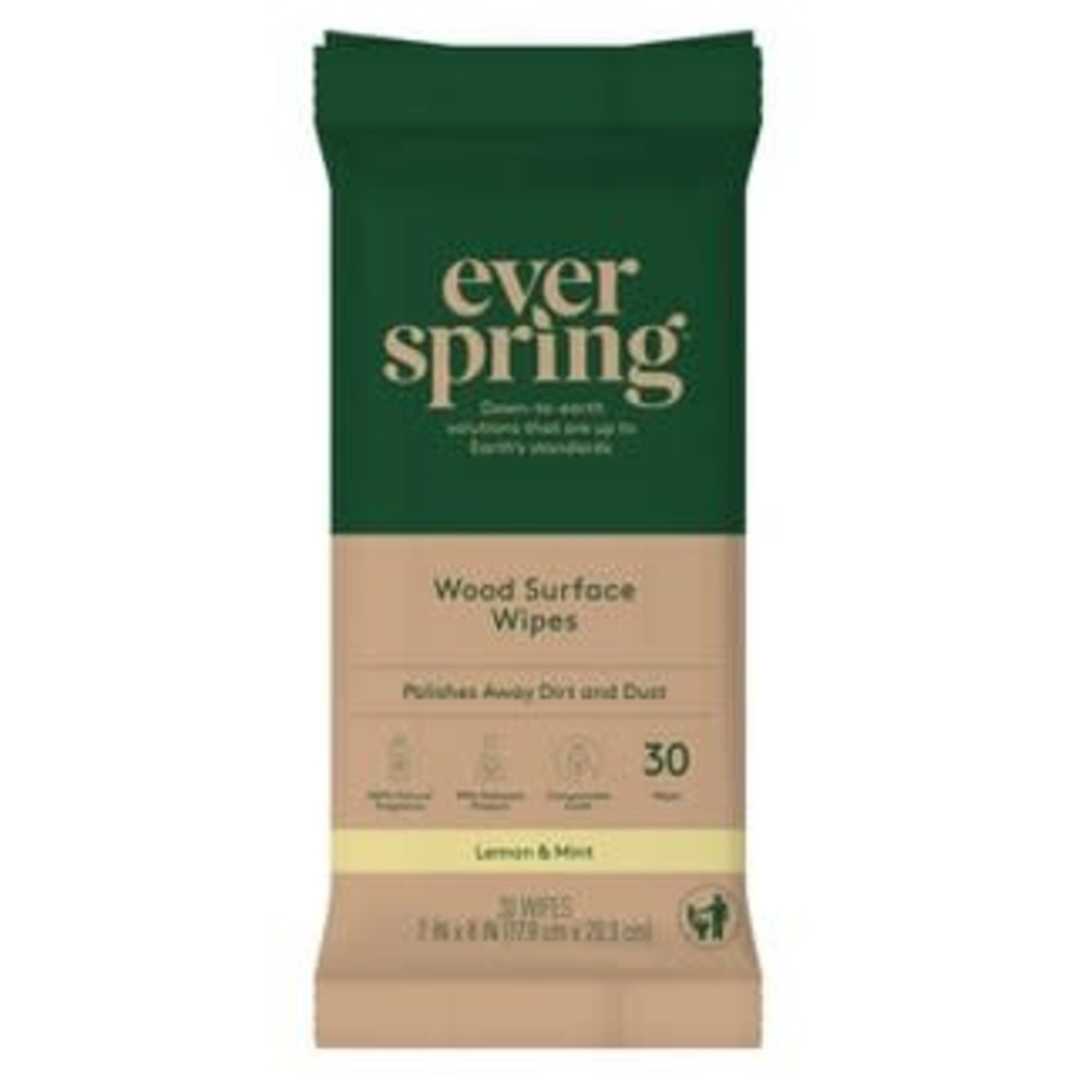 Wood Surface Specialty Wipes Lemon & Mint - 30ct - Everspring