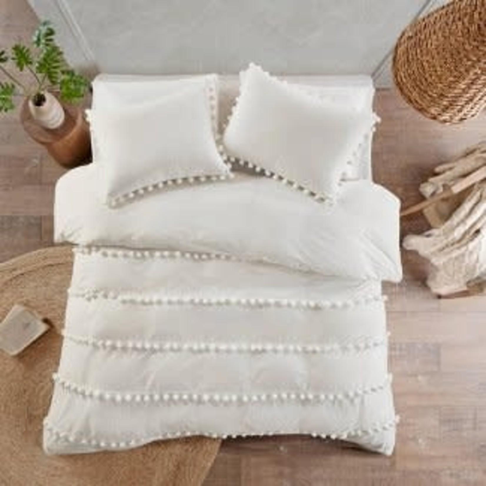 Elly Pom Pom Cotton Duvet KING Cover Set *Open box, small stain on pillowcase