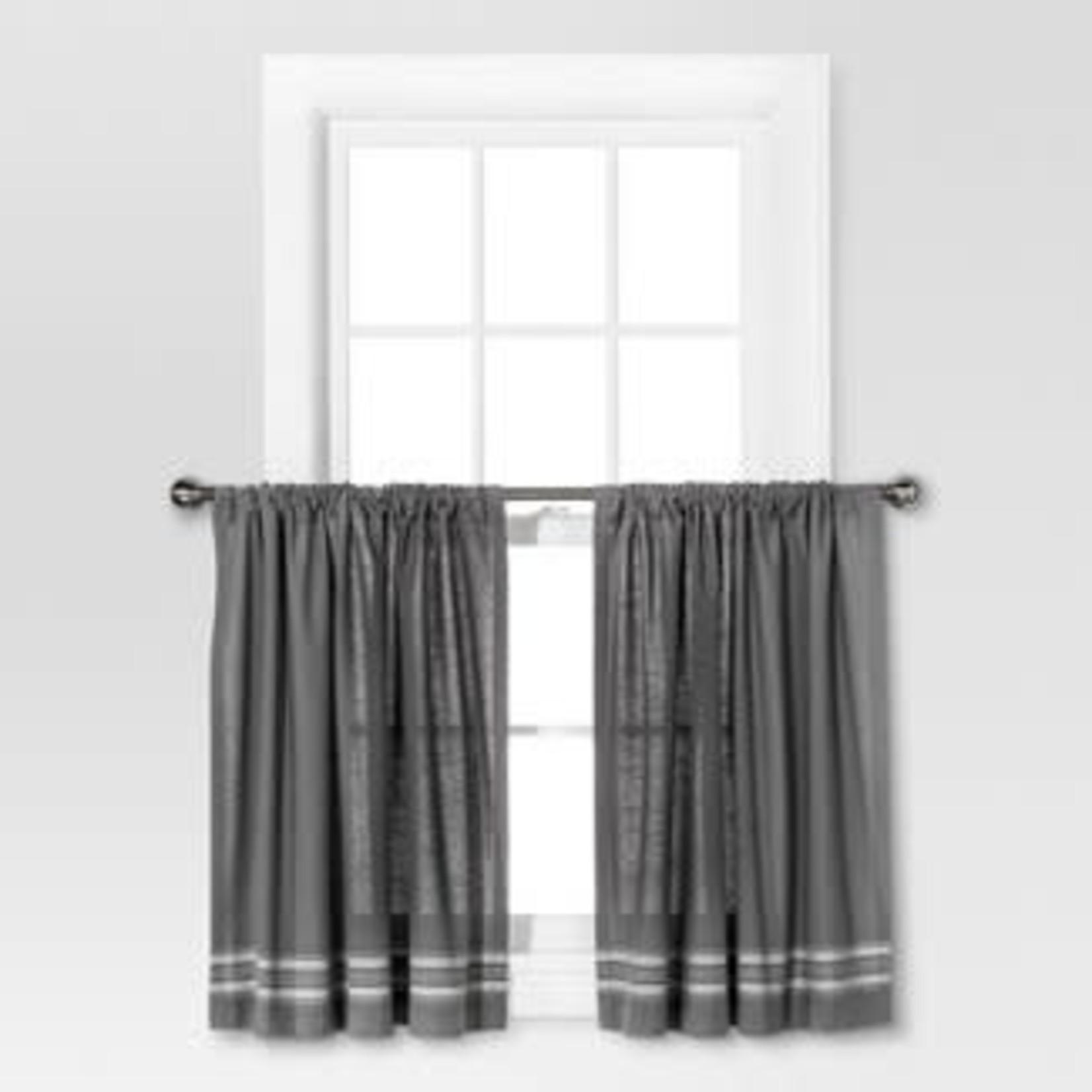 "Threshold 36""x42"" Striped Curtain Tiers Gray/Cream"