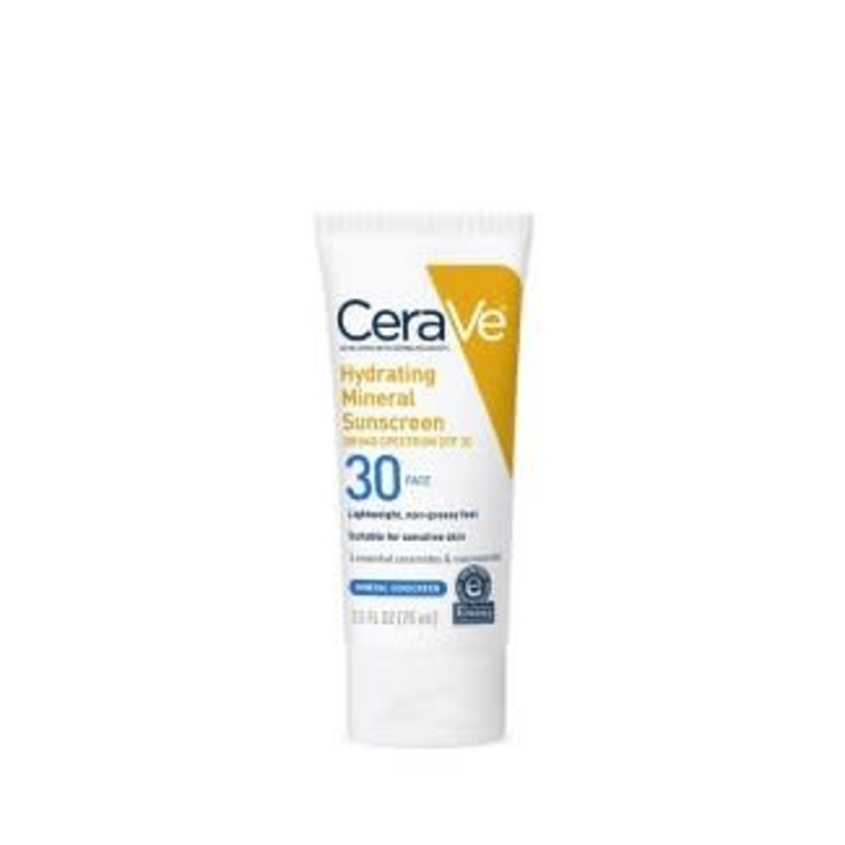 CeraVe Hydrating Mineral Face Sunscreen Lotion with Zinc Oxide – SPF 30 - 2.5oz