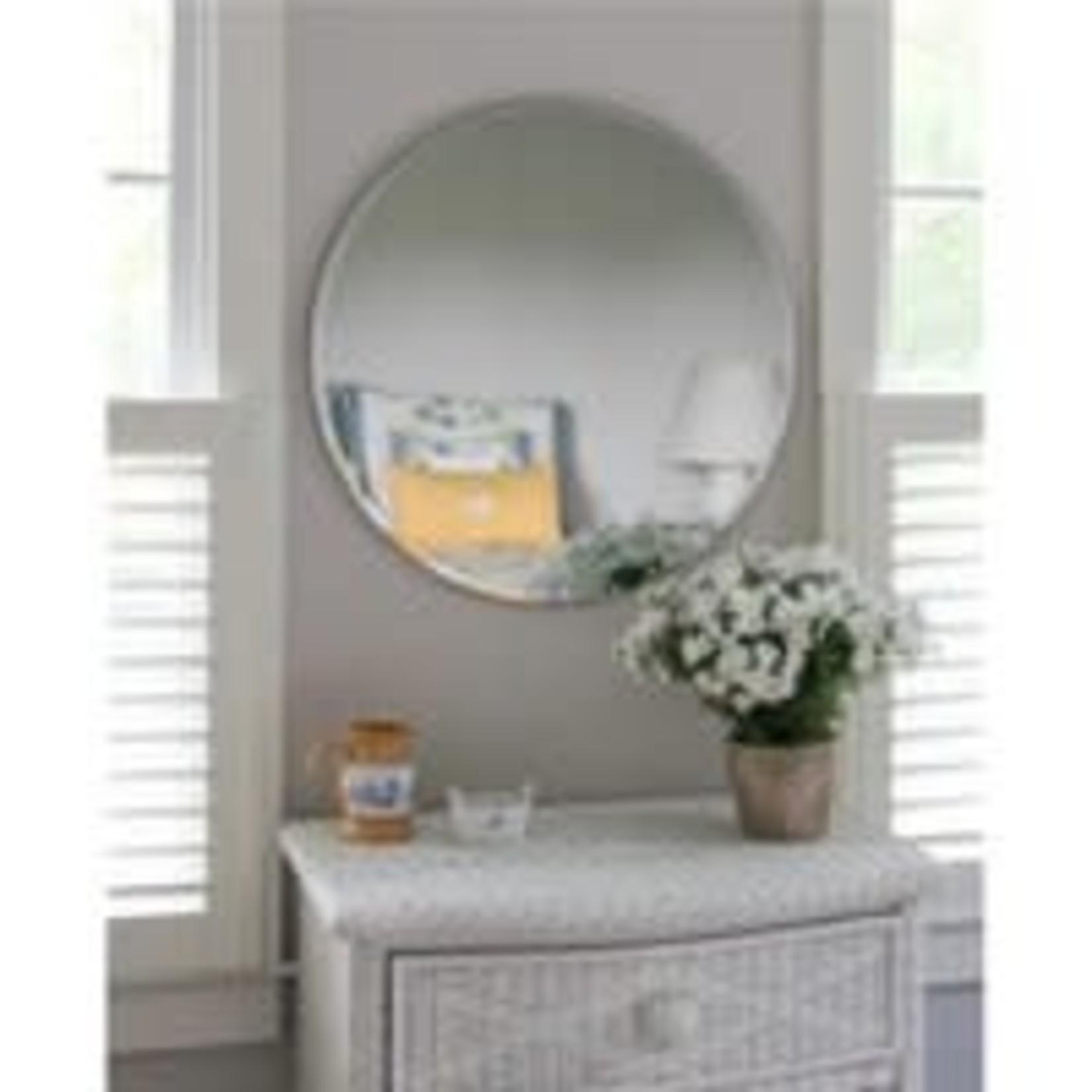 "24"" Westport Round Frameless Beveled Glass Wall Mirror Silver"