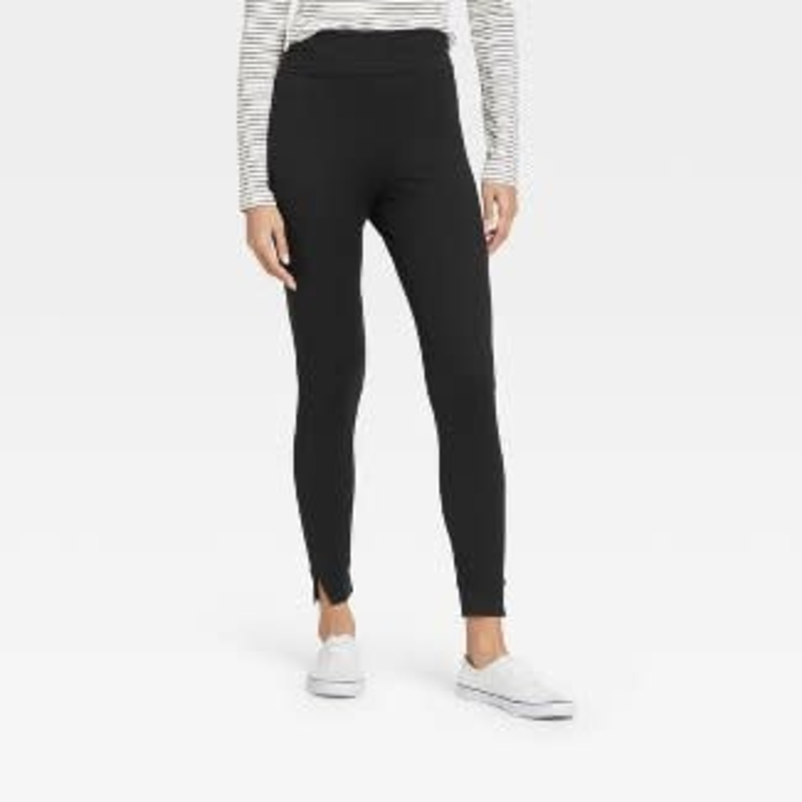 a new day   Women's Brushed Leggings with Foldover Waistband and Split Hem Cuffs - M,XL