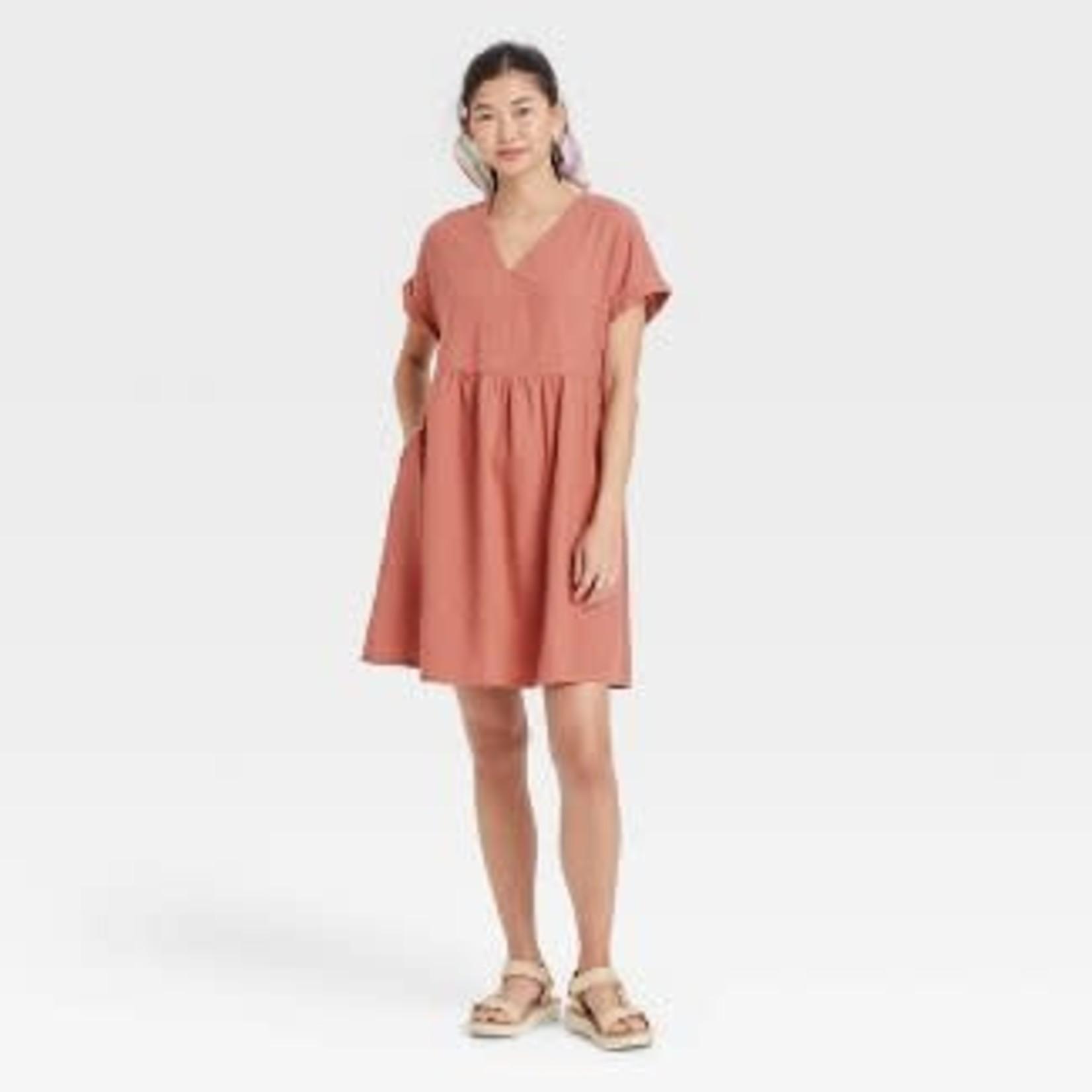 Women's Short Sleeve Shirtdress-Blush Pink -XS, S