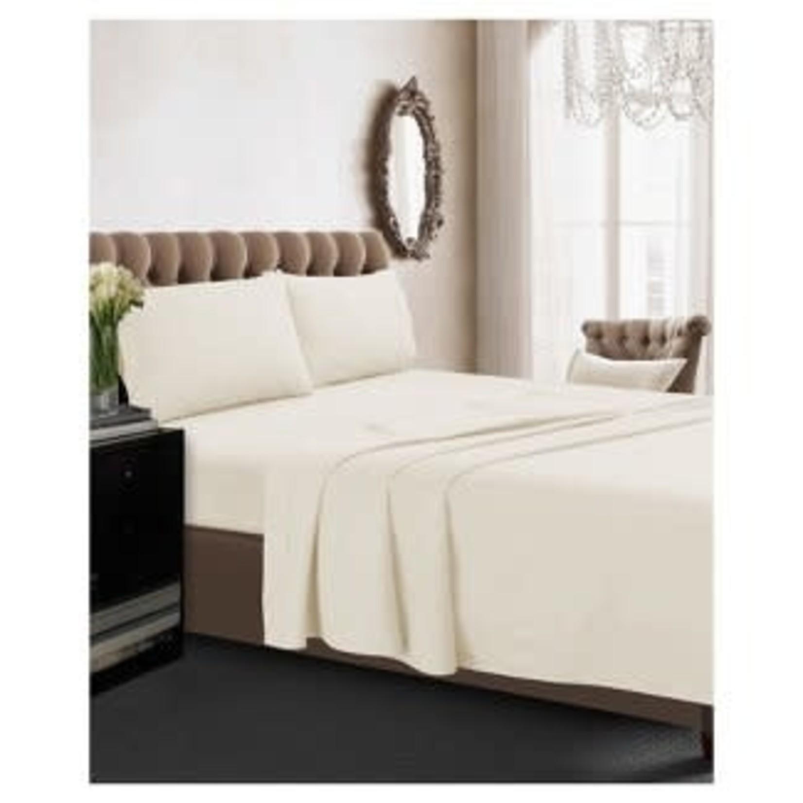 Tribeca Living | Long Staple Cotton Percale Deep Pocket Solid Sheet Set 350 TC-KING