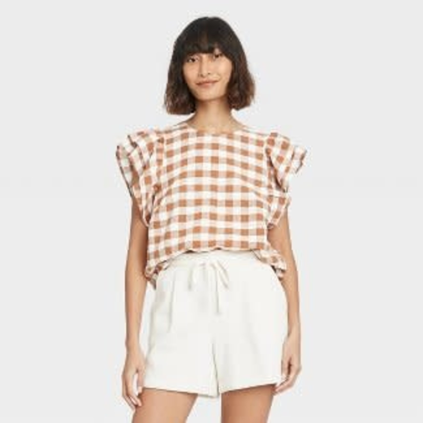 A New Day   Women's Ruffle Short Sleeve Linen Top  -XS