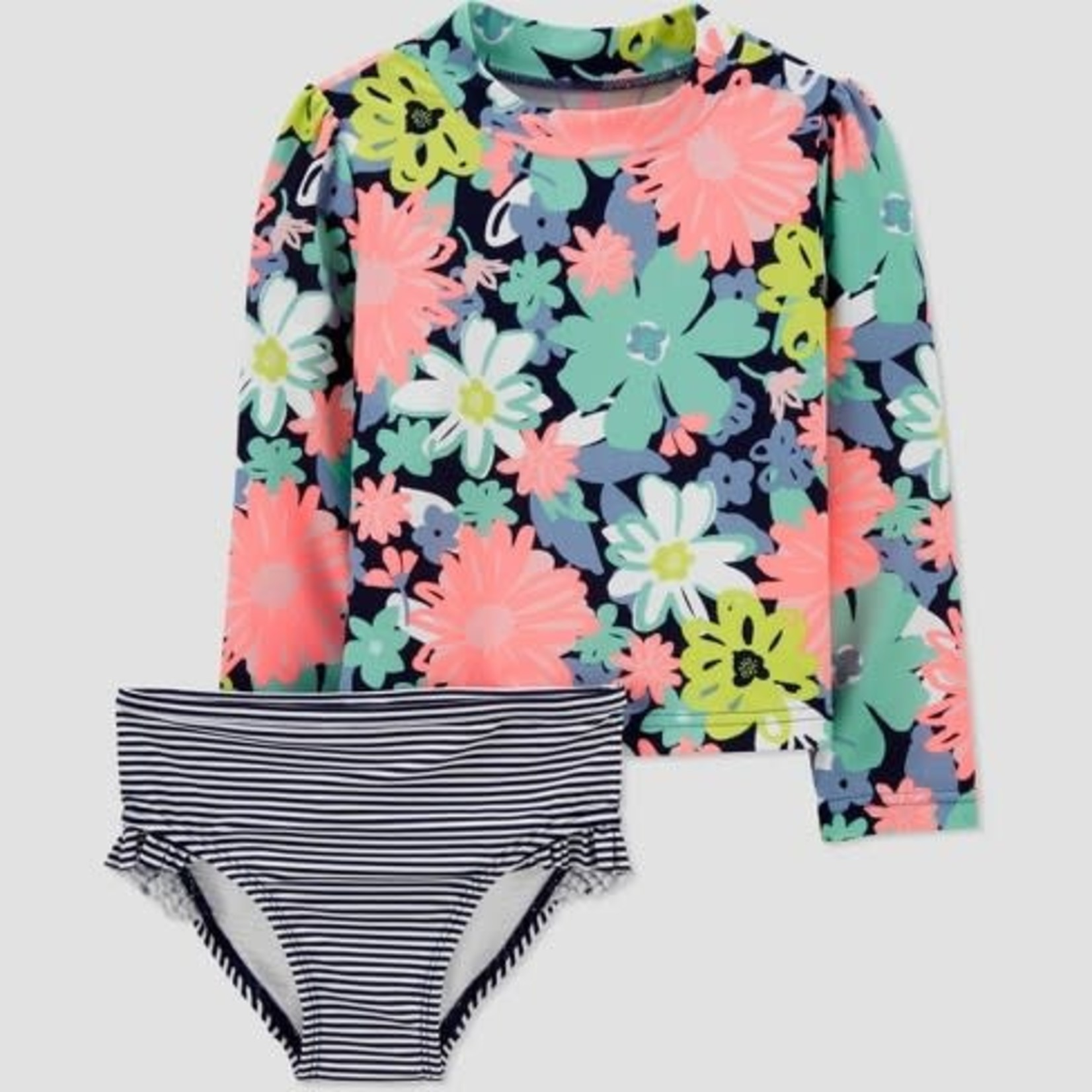 Just One You by Carter's Toddler Girls' 2pc Floral Long Sleeve Rash Guard Set -18M
