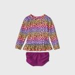 Cat & Jack Toddler Girls' 2pc Rainbow Leopard Print Long Sleeve Rash Guard Set 2T