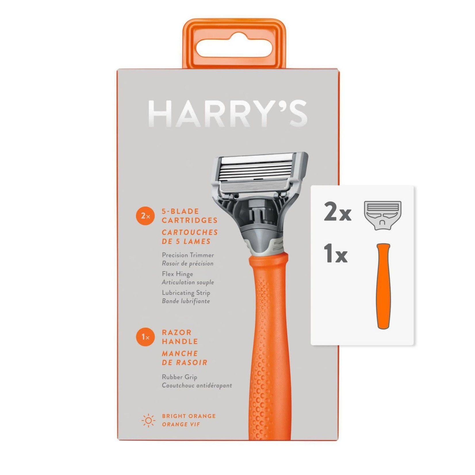 Harry's 5-Blade Men's Razor – 1 Razor Handle + 2 Razor Blade Refills – Bright Orange