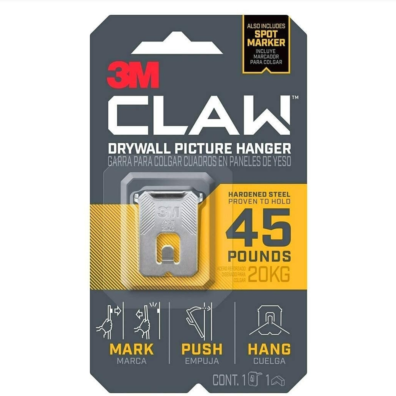 3M CLAW Strong Durable Drywall Picture Hanger (45 LB)
