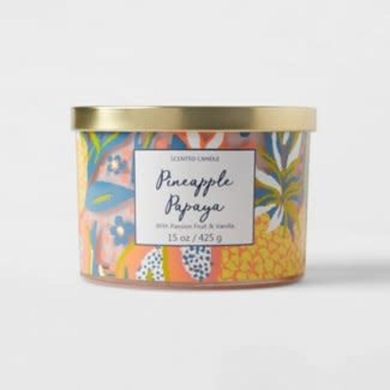 Opalhouse 15oz Lidded Glass Jar Front Label Tropical Fruit Print 3-Wick Pineapple Papaya Candle