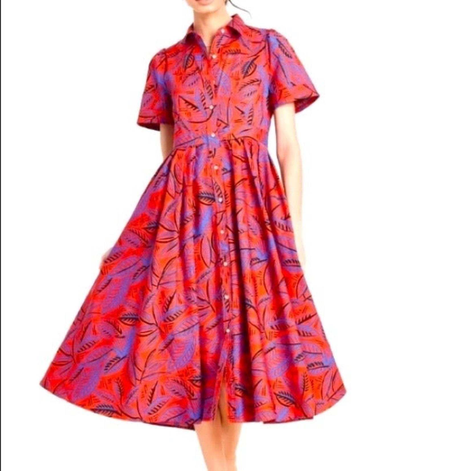 Alexis Orange and Blue Leaf Print Button up dress -S,M,L,XL