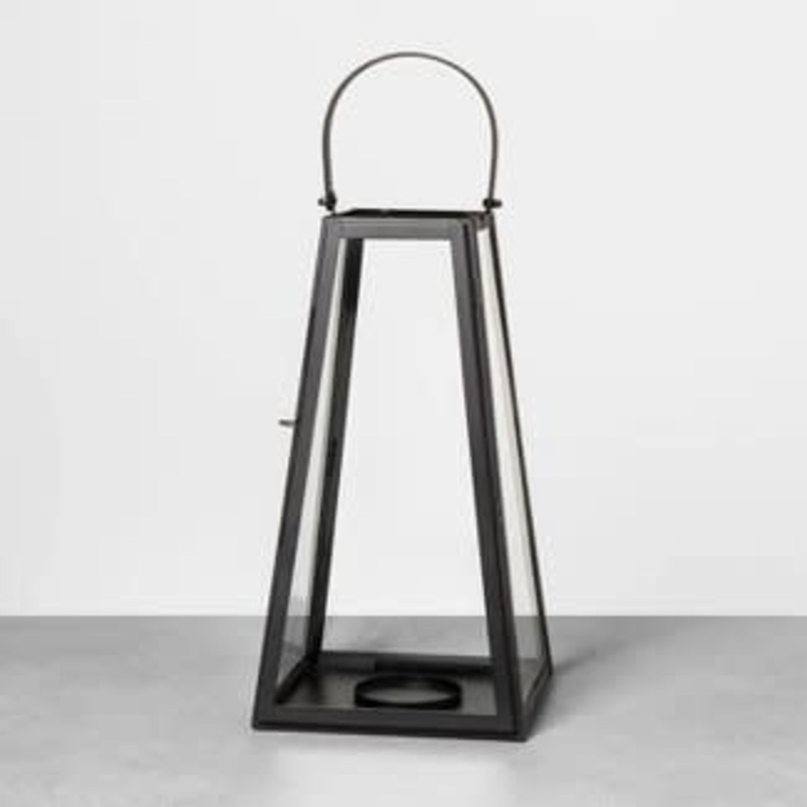 Metal Lantern Black - Hearth & Hand™ with Magnolia ***Small Crack on bottom of  glass