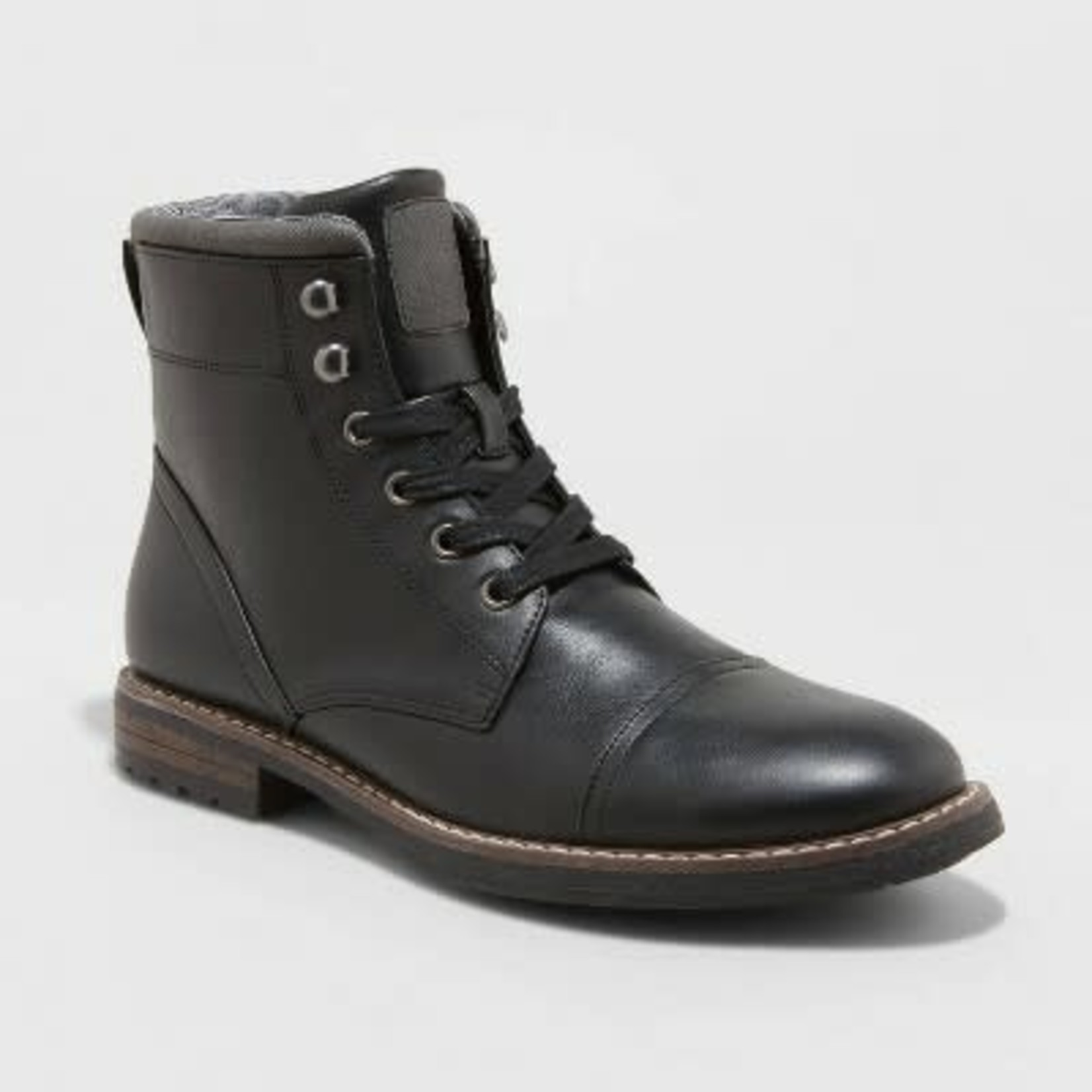 Men's Jeffrey Cap Toe Combat Boots - Goodfellow & Co- black - 8