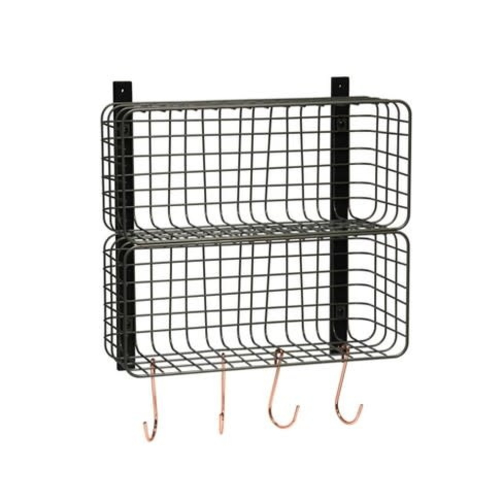"""Threshold   Entryway Double Stacked Wire Cubby Pewter 16""""x 6.5""""x16"""""""