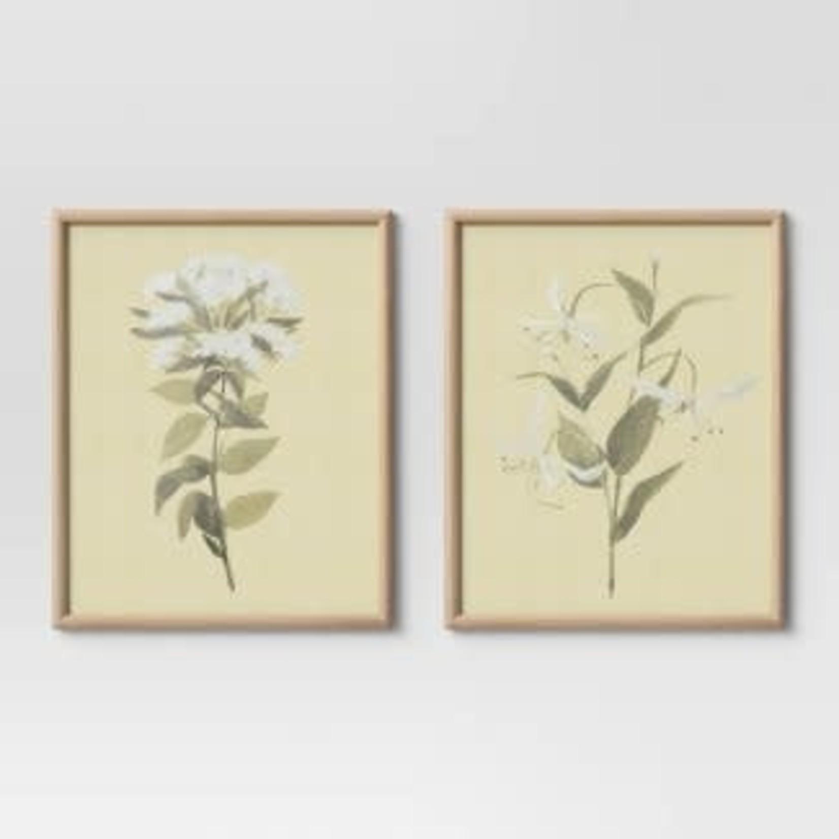 "Threshold Neutral Florals Framed Under Glass16""x20"" Set of 2"