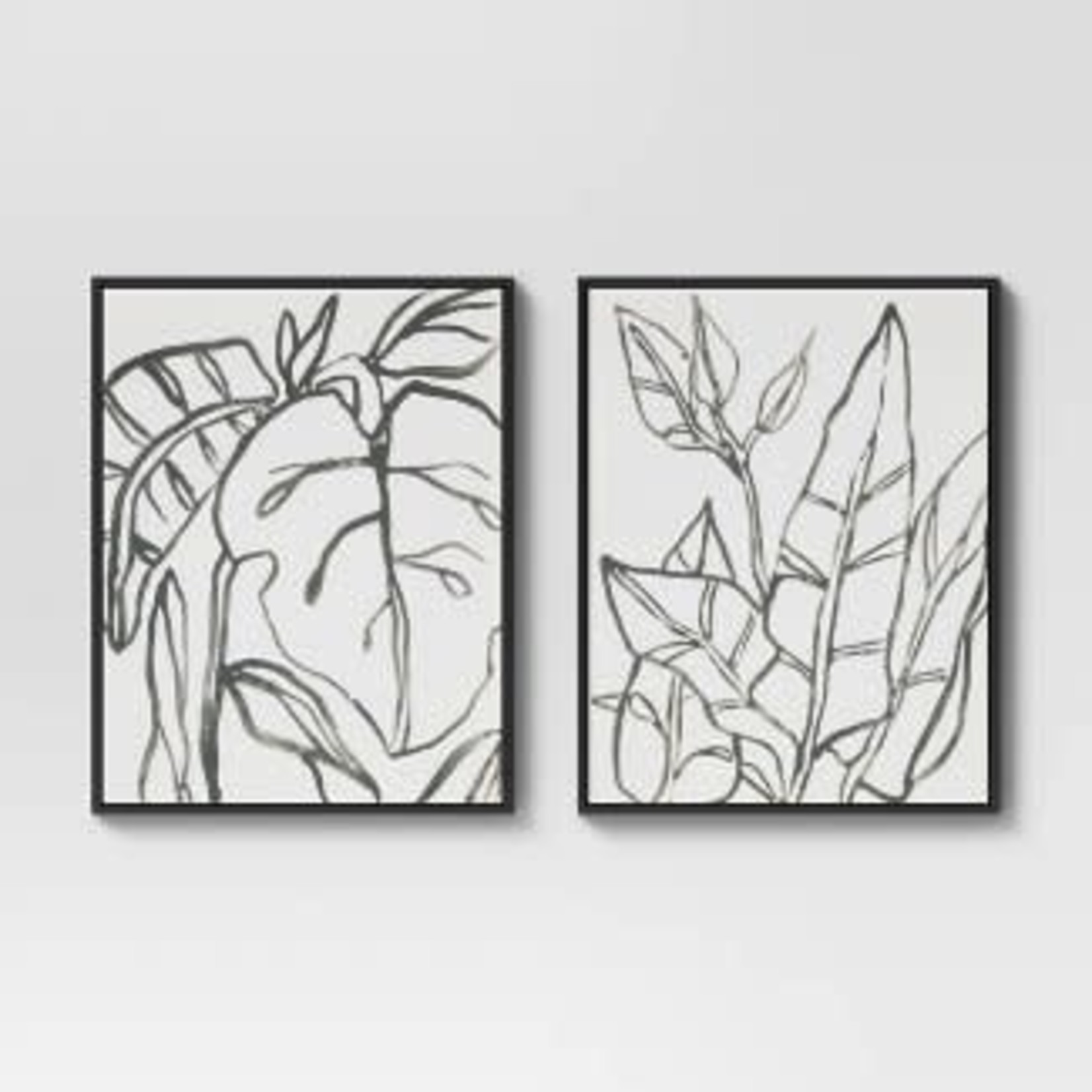 """Project 62   24"""" x 30"""" Botanical Sketch Framed Wall Canvas White/Black"""