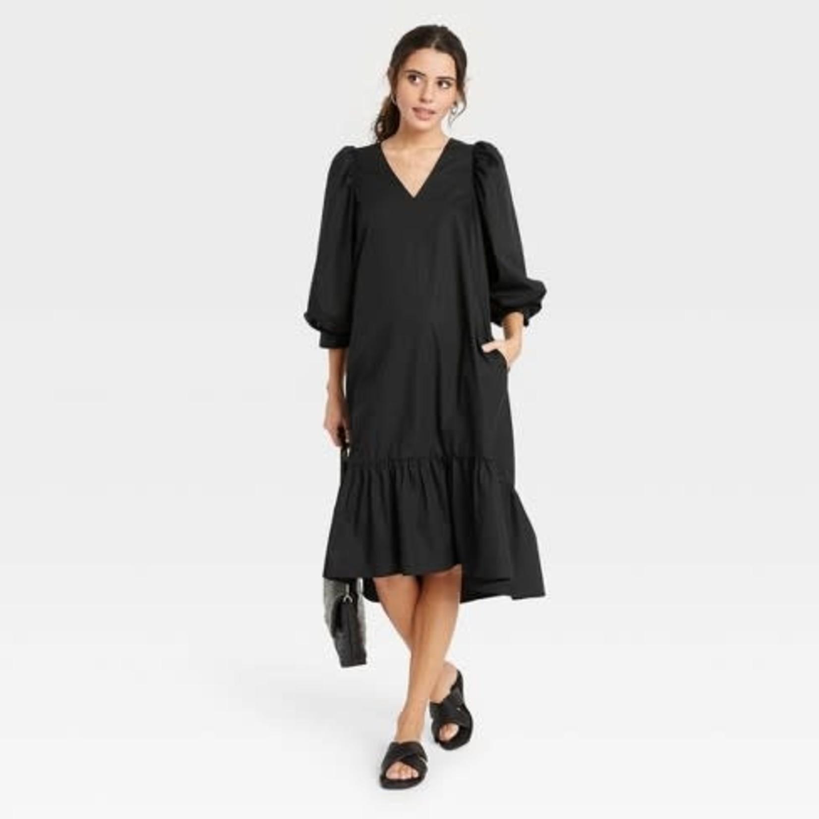 Women's Long Sleeve Ruffle Hem Dress - A New Day -M