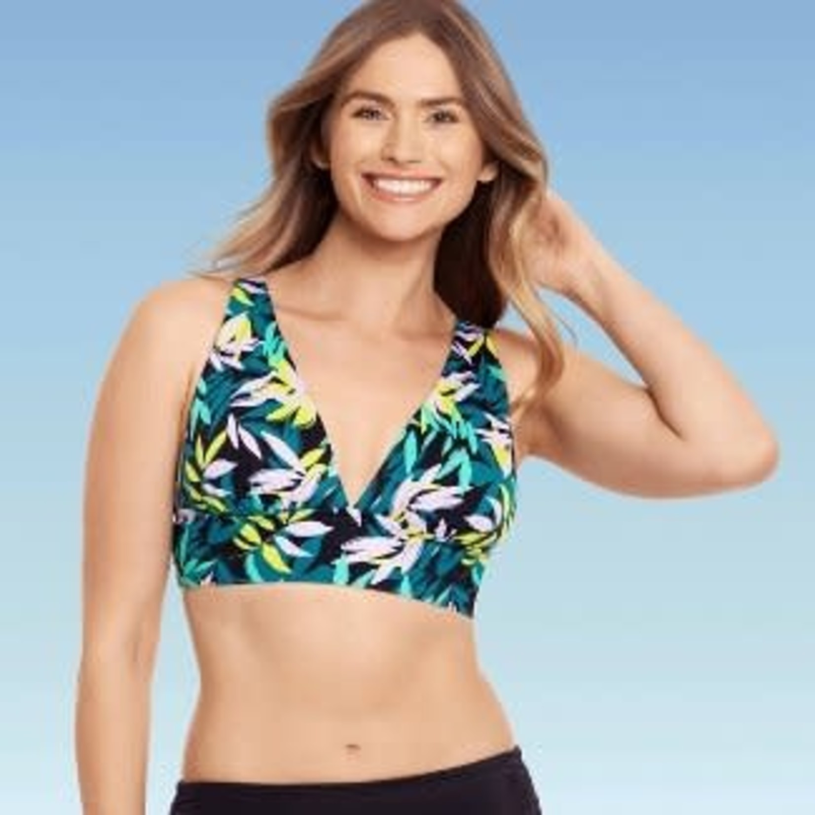 Beach Betty by Miracle Brands| Women's Slimming Control Plunge Lace-Up Bikini Top -M