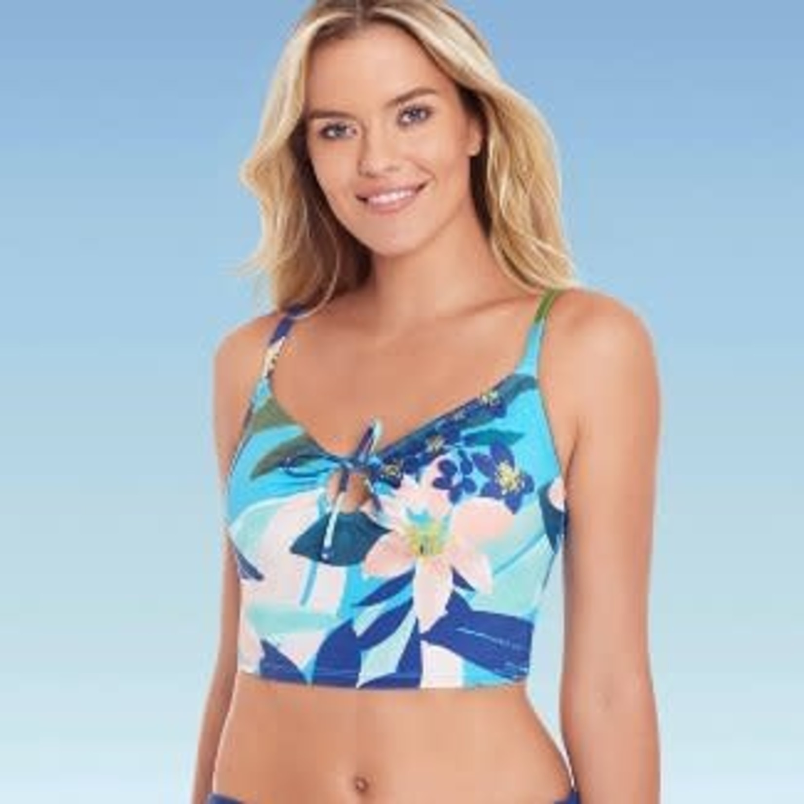Beach Betty by Miracle Brands| Women's Slimming Control Keyhole Front Crop Bikini Top -M