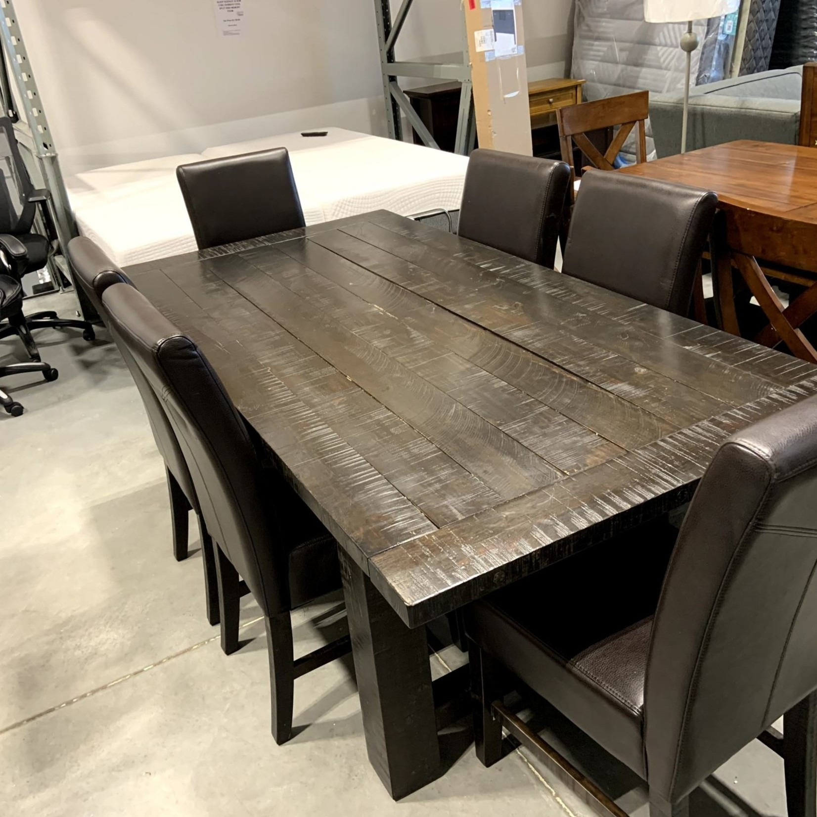7PC Rustic Plank Wood Dining Table with Bonded Leather Dining Chairs