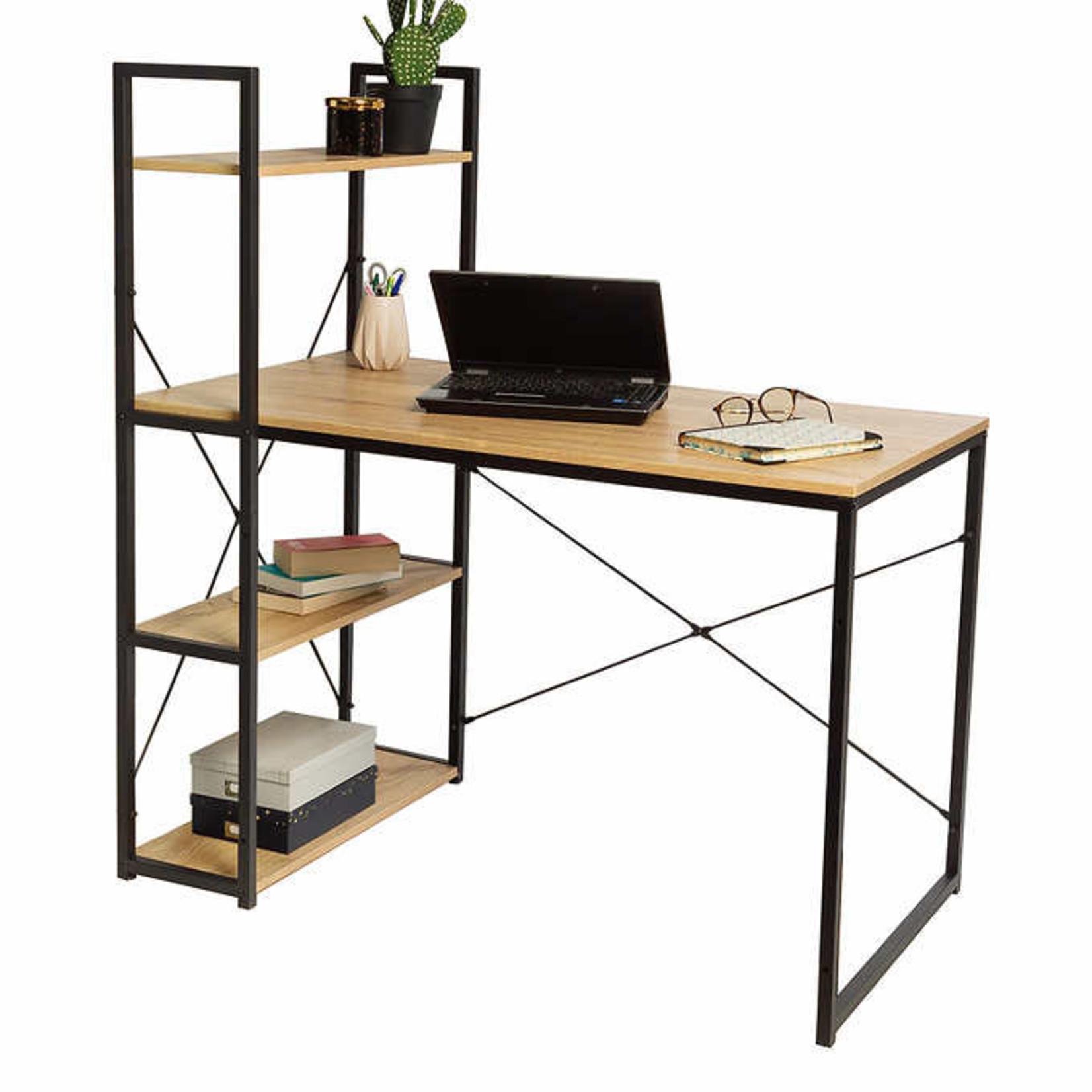 Modern Computer Desk with 4-tier Bookshelf
