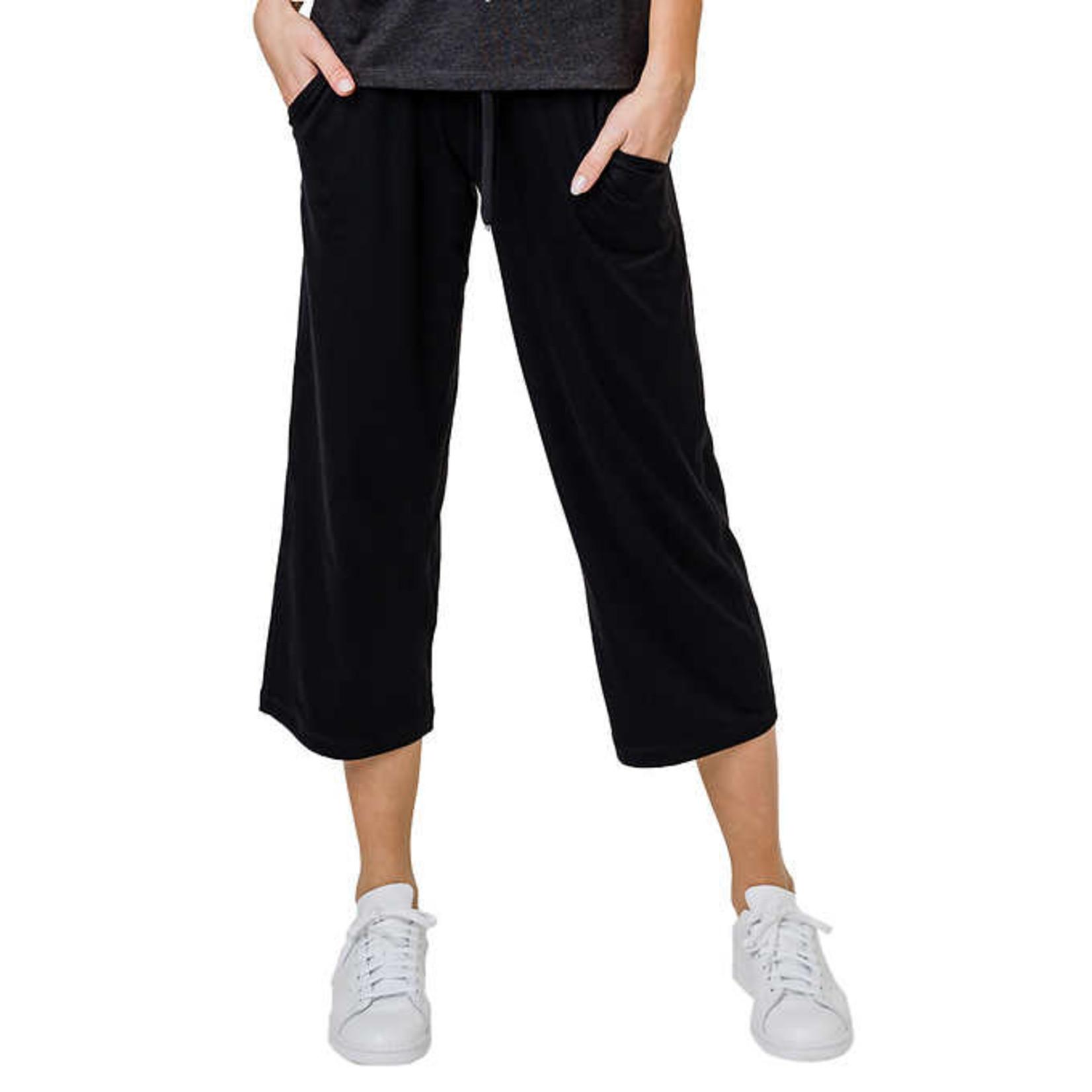 Tuff Athletics Ladies Gaucho Crop Pants-Black-S