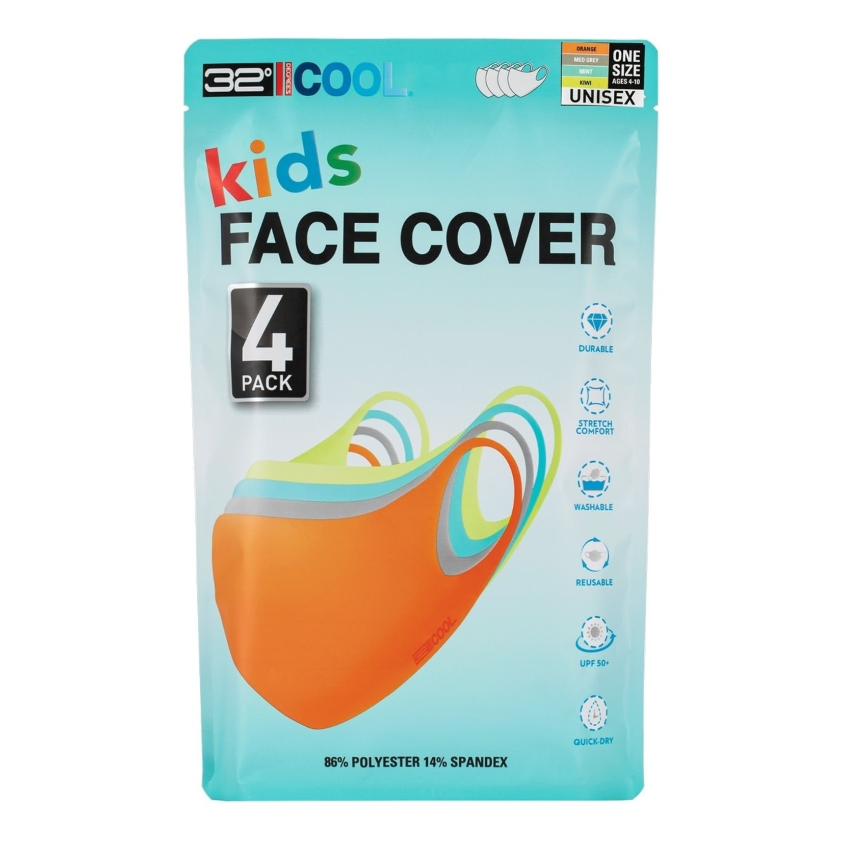 32 Degrees Kids Face covers 4 pk