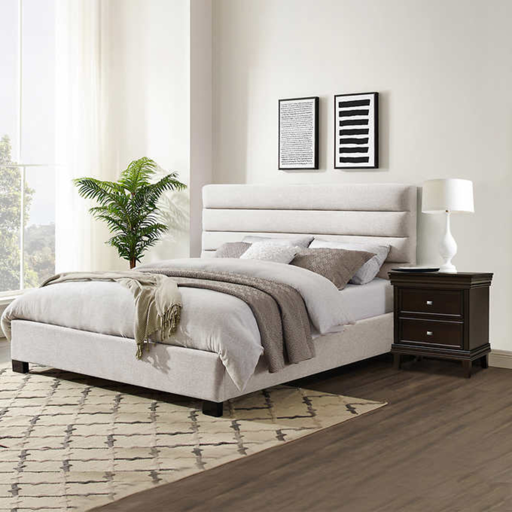 Albury Upholstered King Bed, Beige *Open box Like New