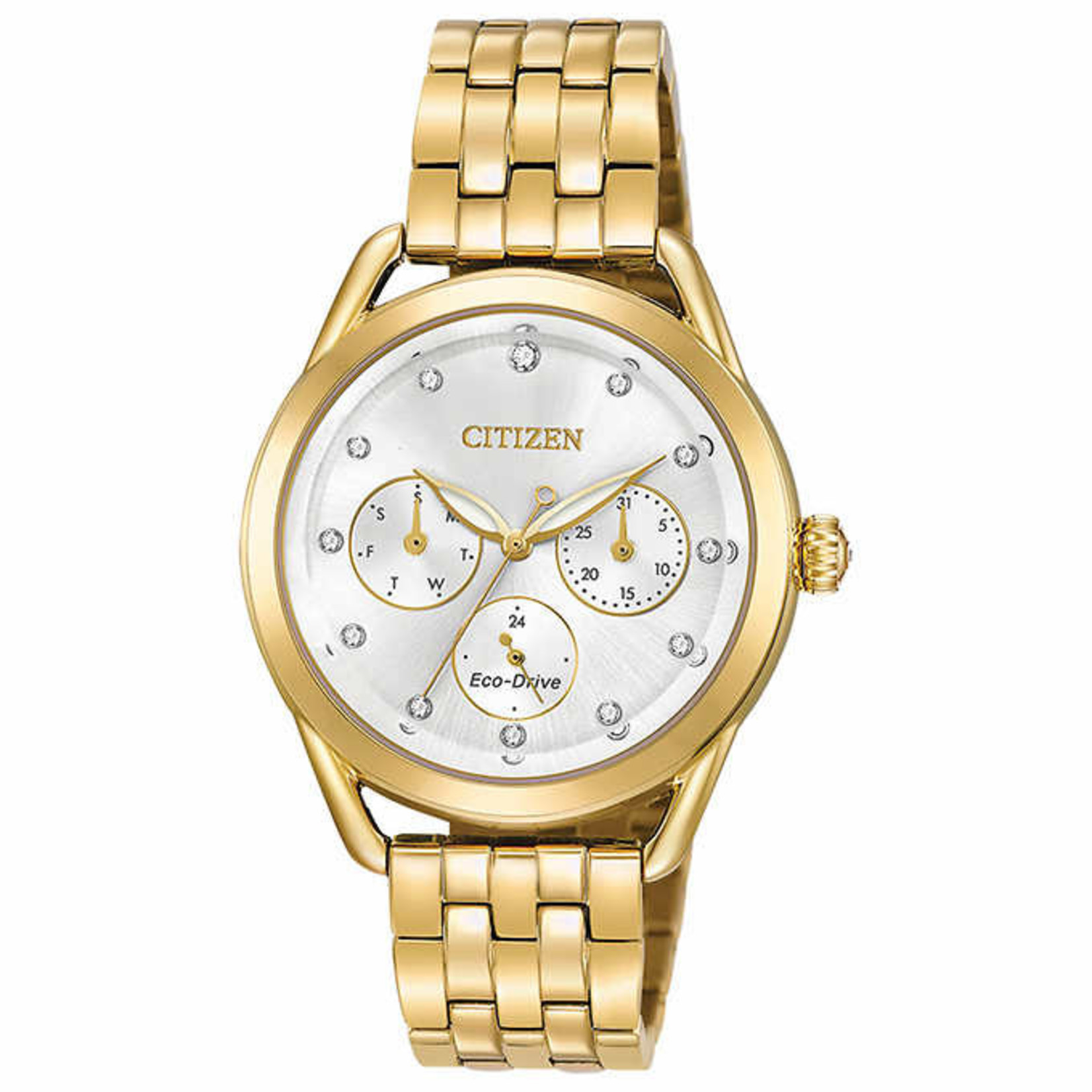 Citizen Eco-drive Crystal Silver Dial Ladies Watch  FD2052-58A *Grade A