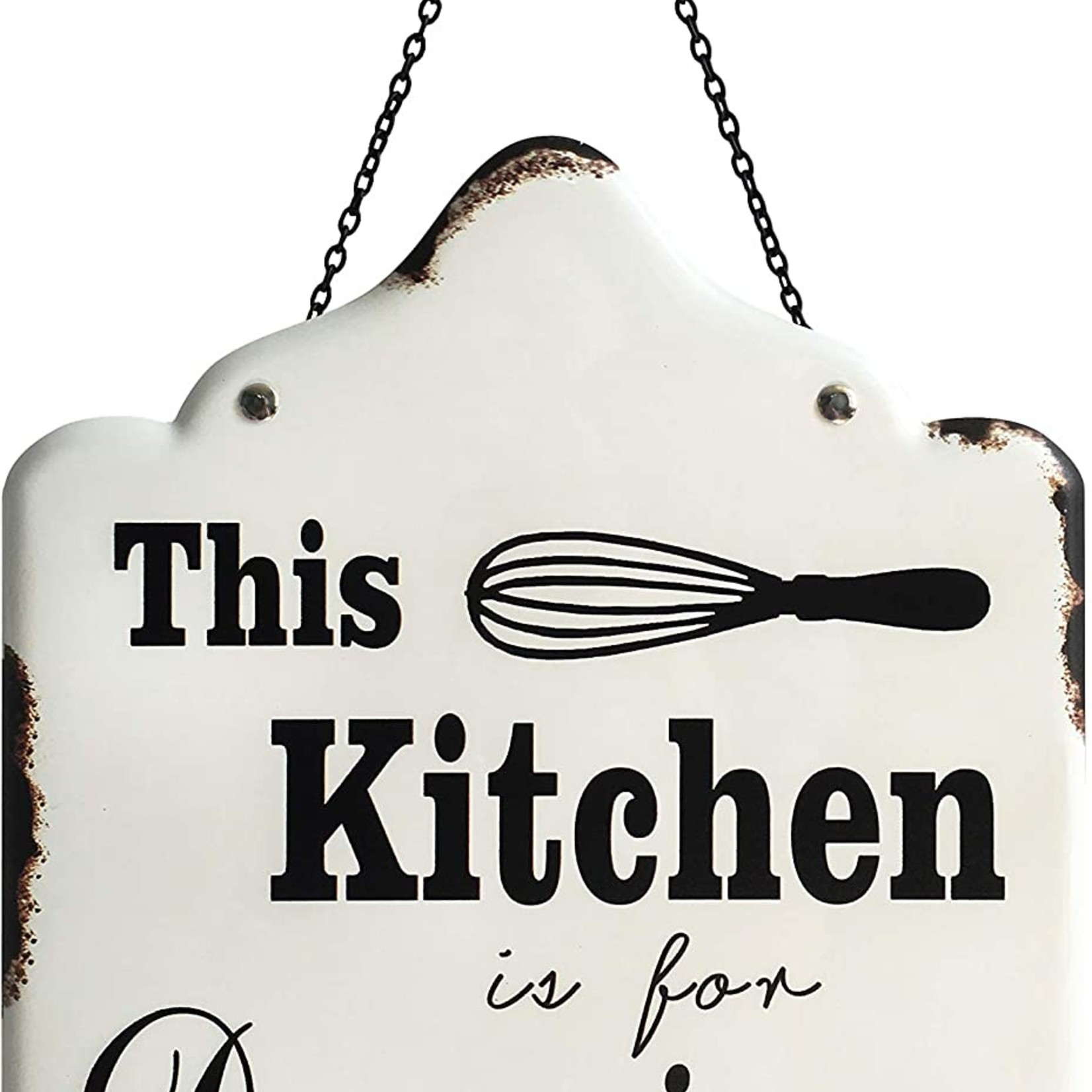 10x12 inch Rustic Farmhouse Enamel Metal Wall Hanging Art Decor Prints - The Kitchen is for Dancing
