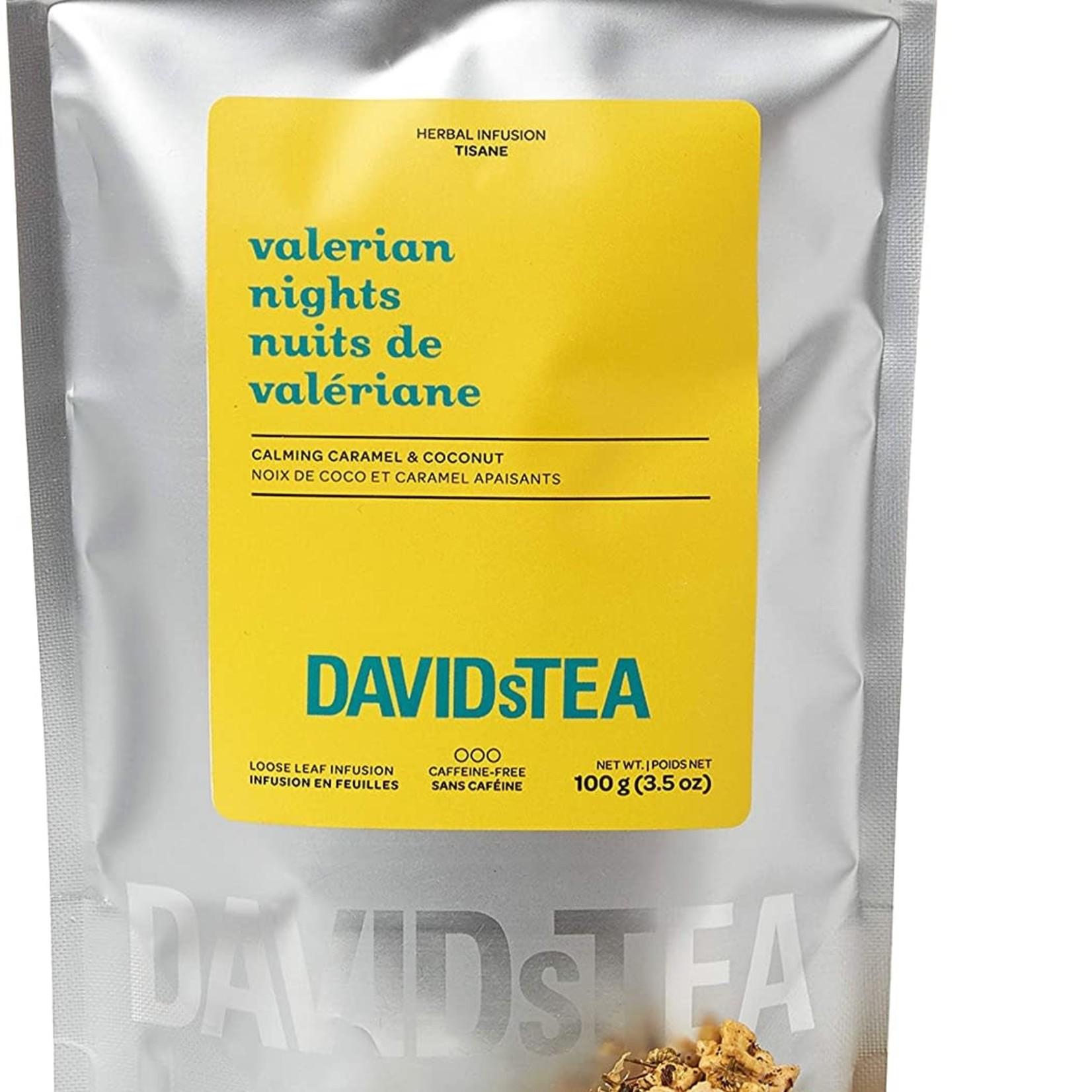 DAVIDsTEA Valerian Nights Loose Leaf Rooibos Tea, Premium Relaxing Sleep Tea with Valerian Root, Coconut and Caramel, 100g