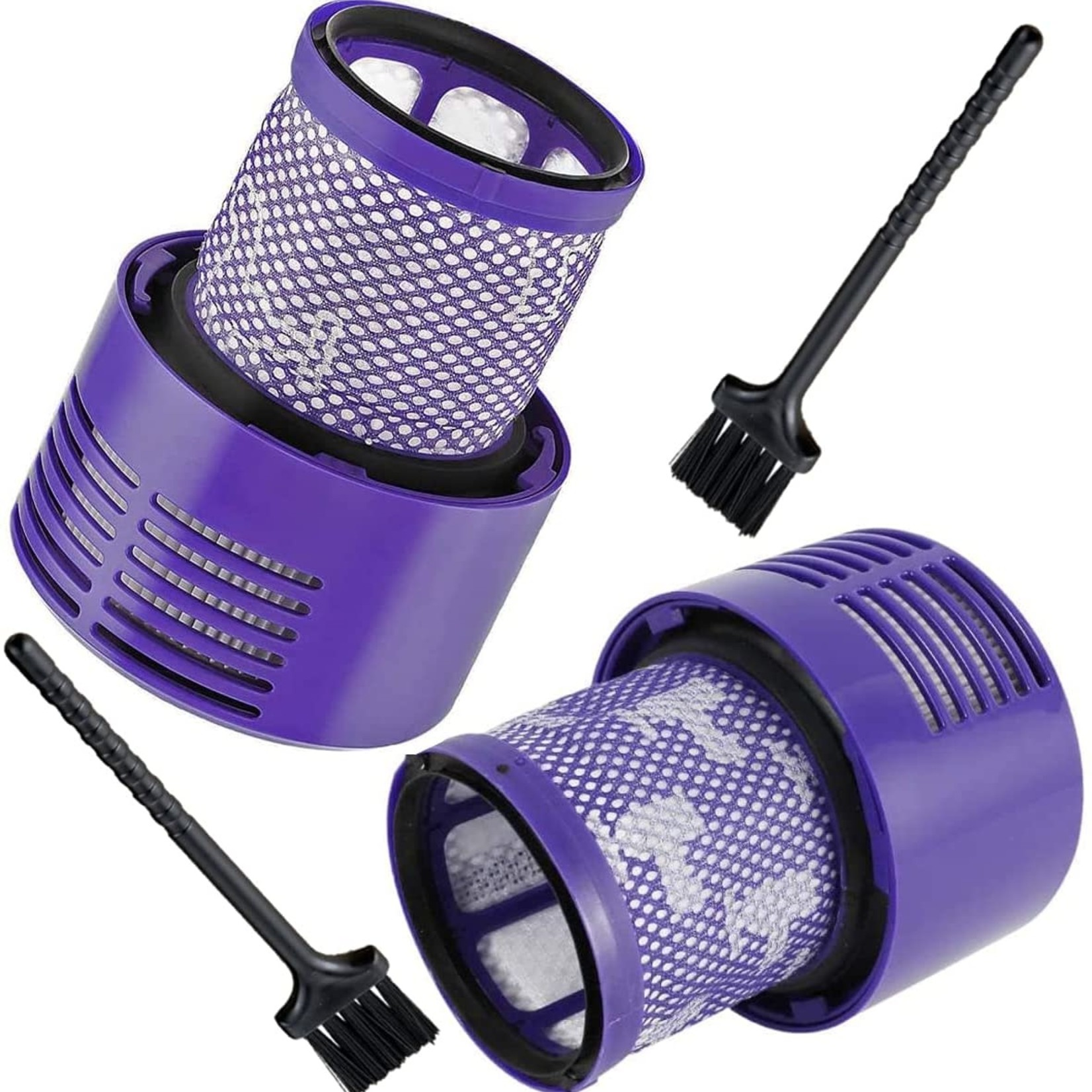 Washable Replacement Filter (2 Pack) with 2 Pcs Cleaning Brush for Dyson V10 Cyclone Series
