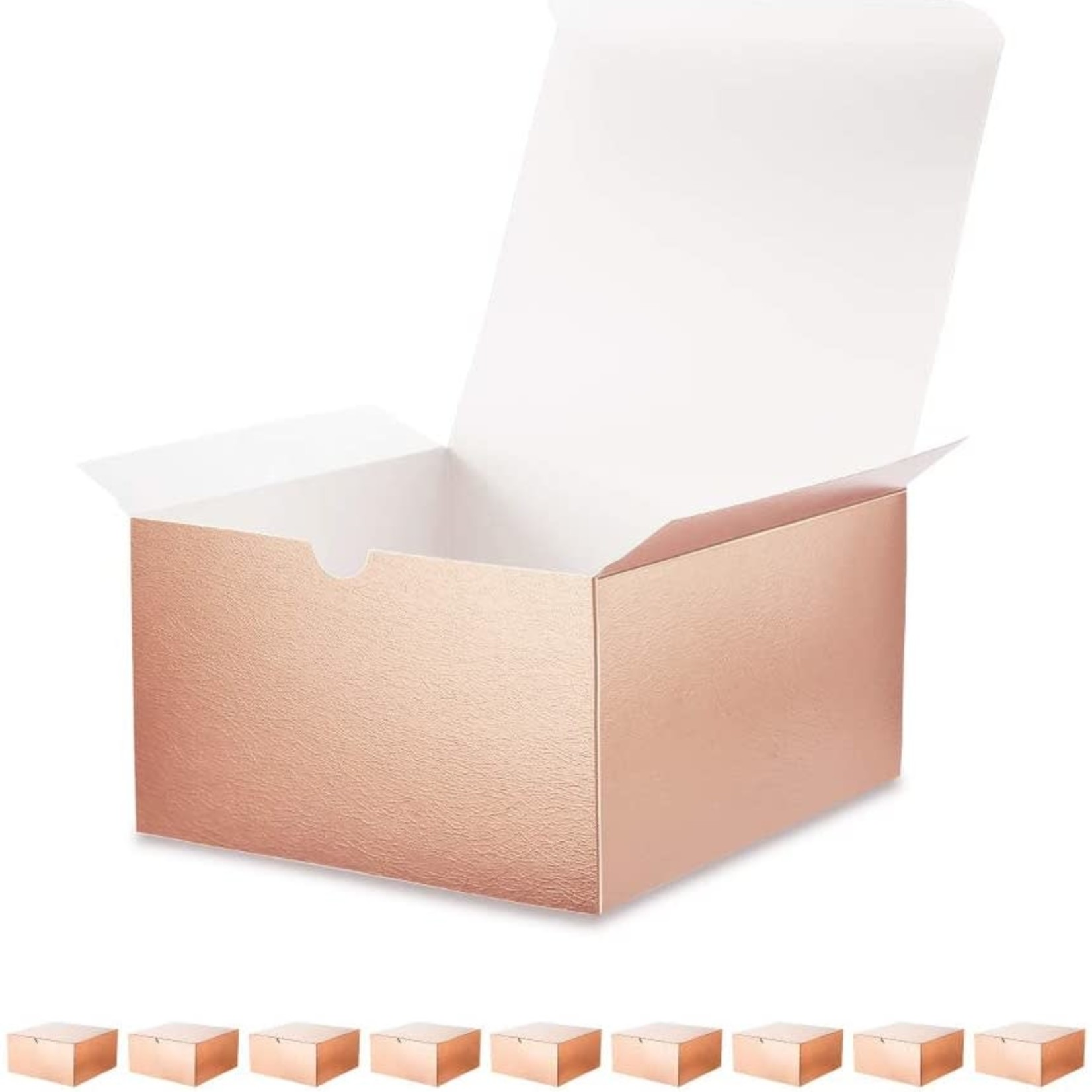 """Premium Rose Gold Gift Boxes with Lids 8""""x8""""x4"""" -Set of 10"""