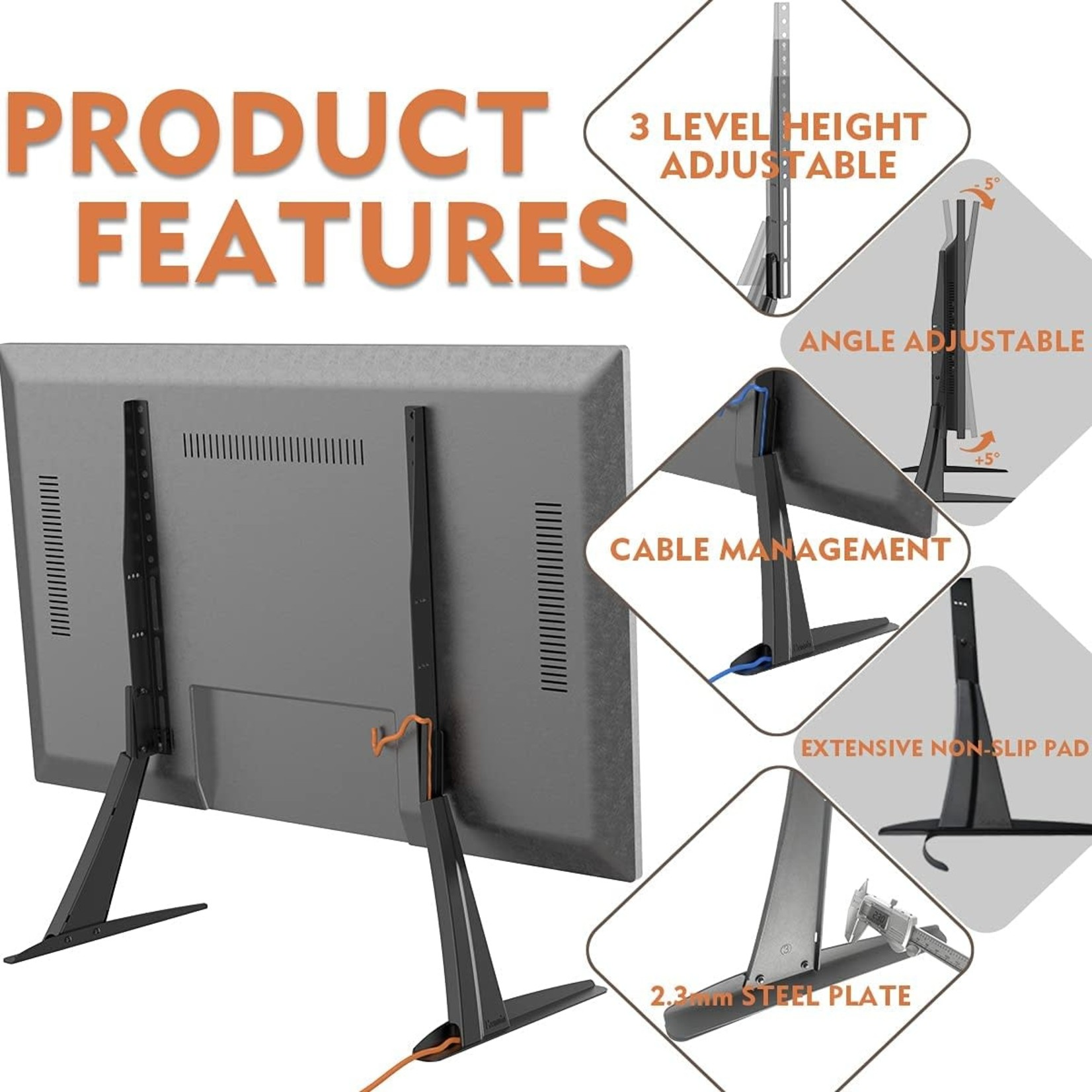 """Hemudu Universal TV Stand Base for 27""""-55"""" Tvs, up to 125lbs"""