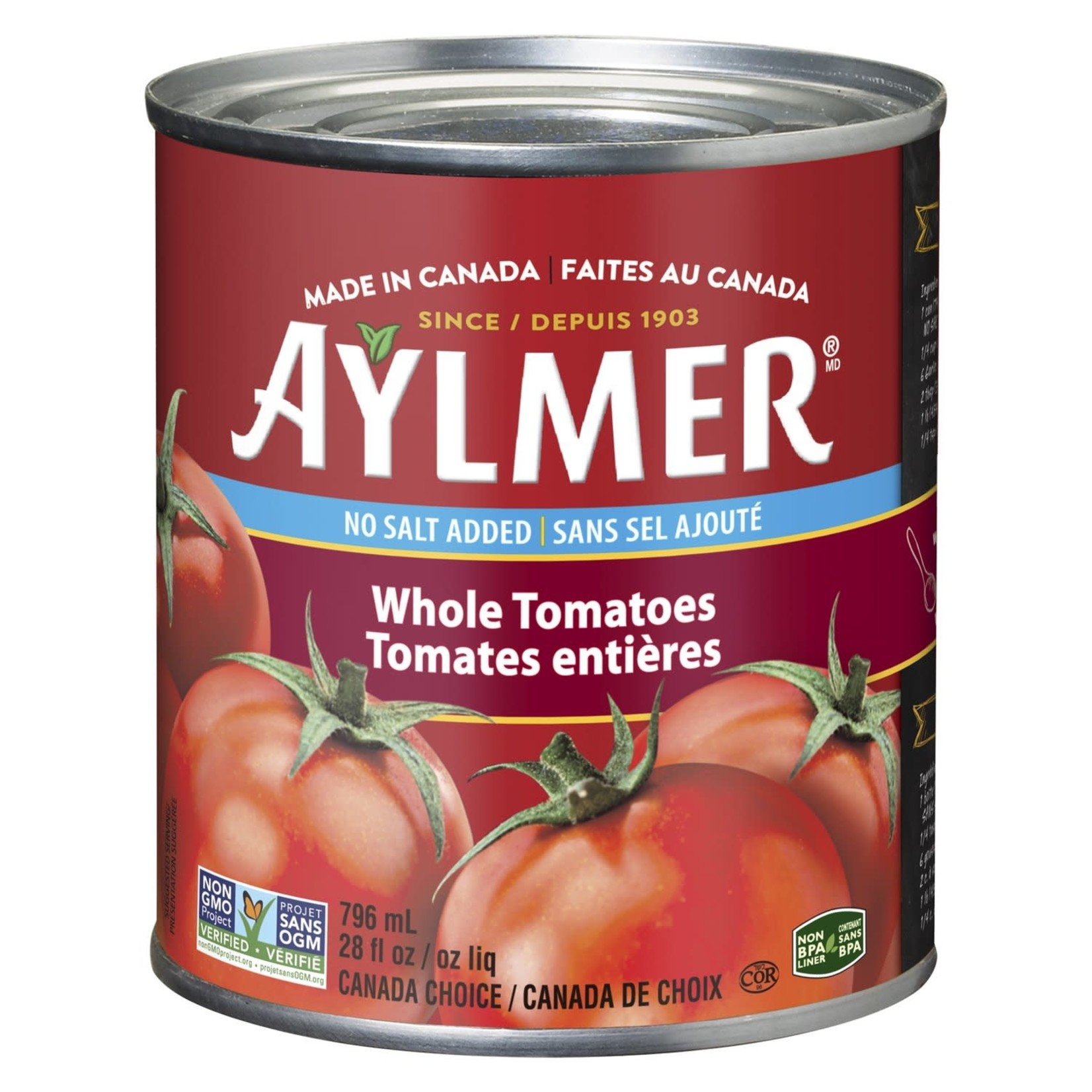 Aylmer Whole Tomatoes No Salt 796ml