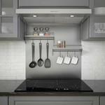 Ancona Stainless-steel Backsplash with Two-tiered Shelf and Rack *Missing corner bracket on 1 shelf