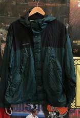2057columbia green/black rain jacket sz. M