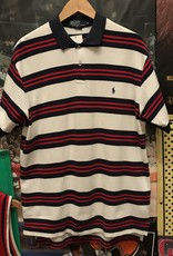 2407polo striped button up white/navy/red sz M