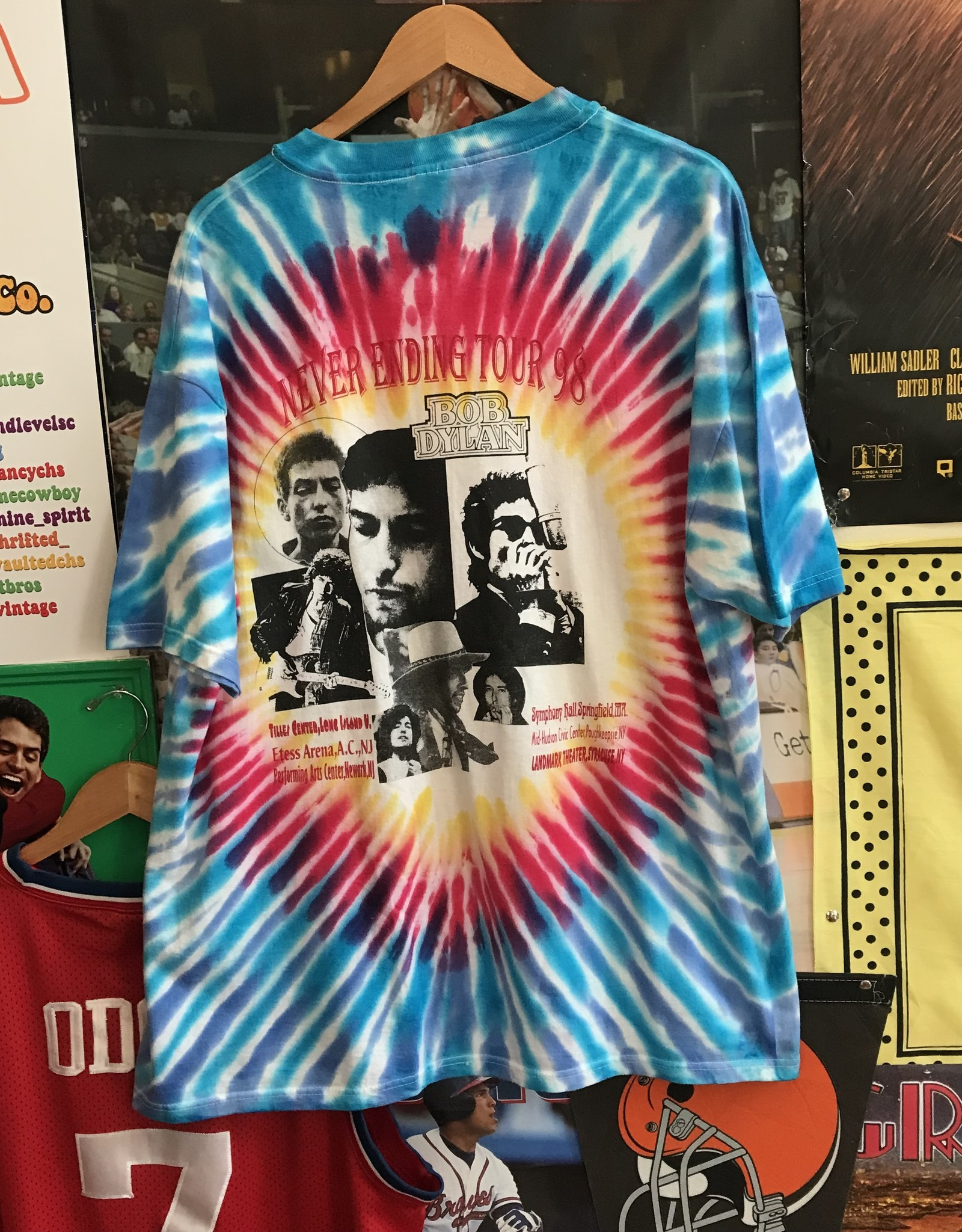38301998 tie dye bob dylan tour tee sz XL