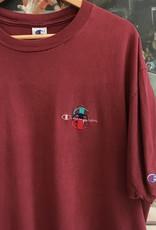 3832embroidered champion triple logo tee maroon sz XL