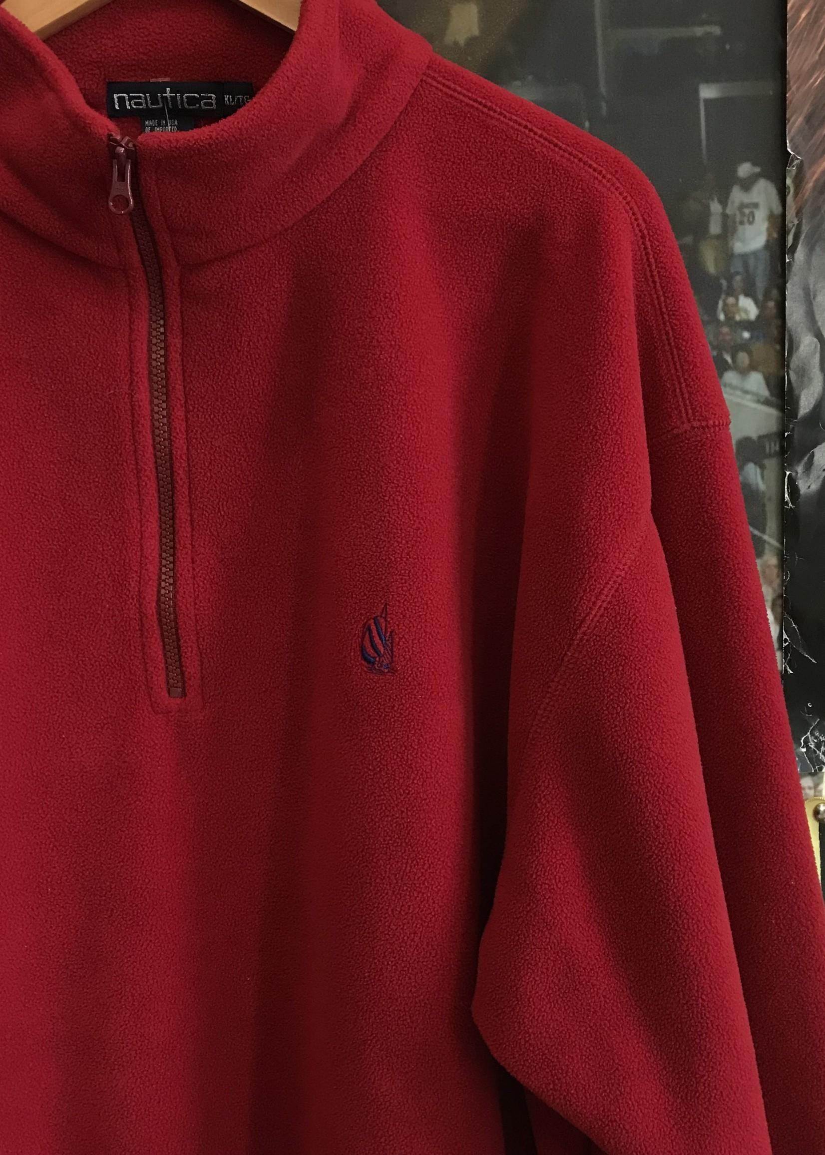 3887nautica fleece quarter zip red sz XL