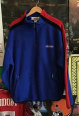 3888nautica fleece quarter zip blue/red/black sz L