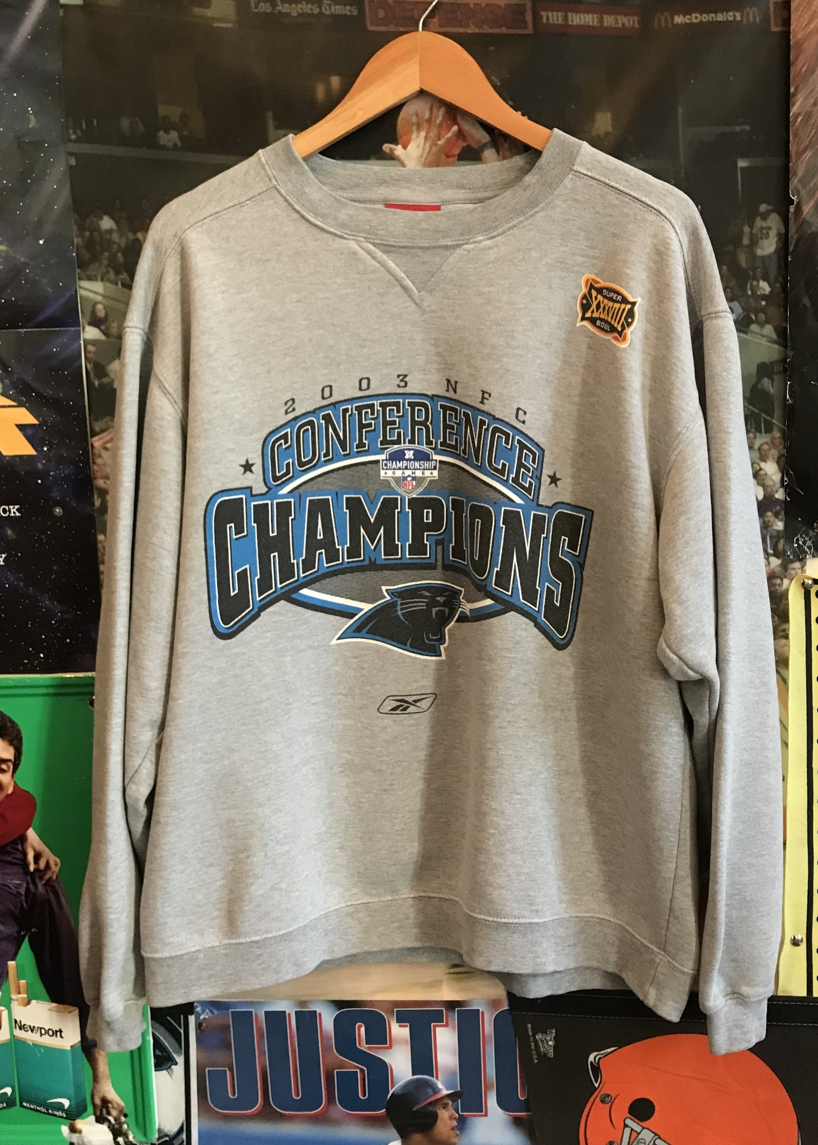44712003 panthers nfc champs crewneck gray sz M