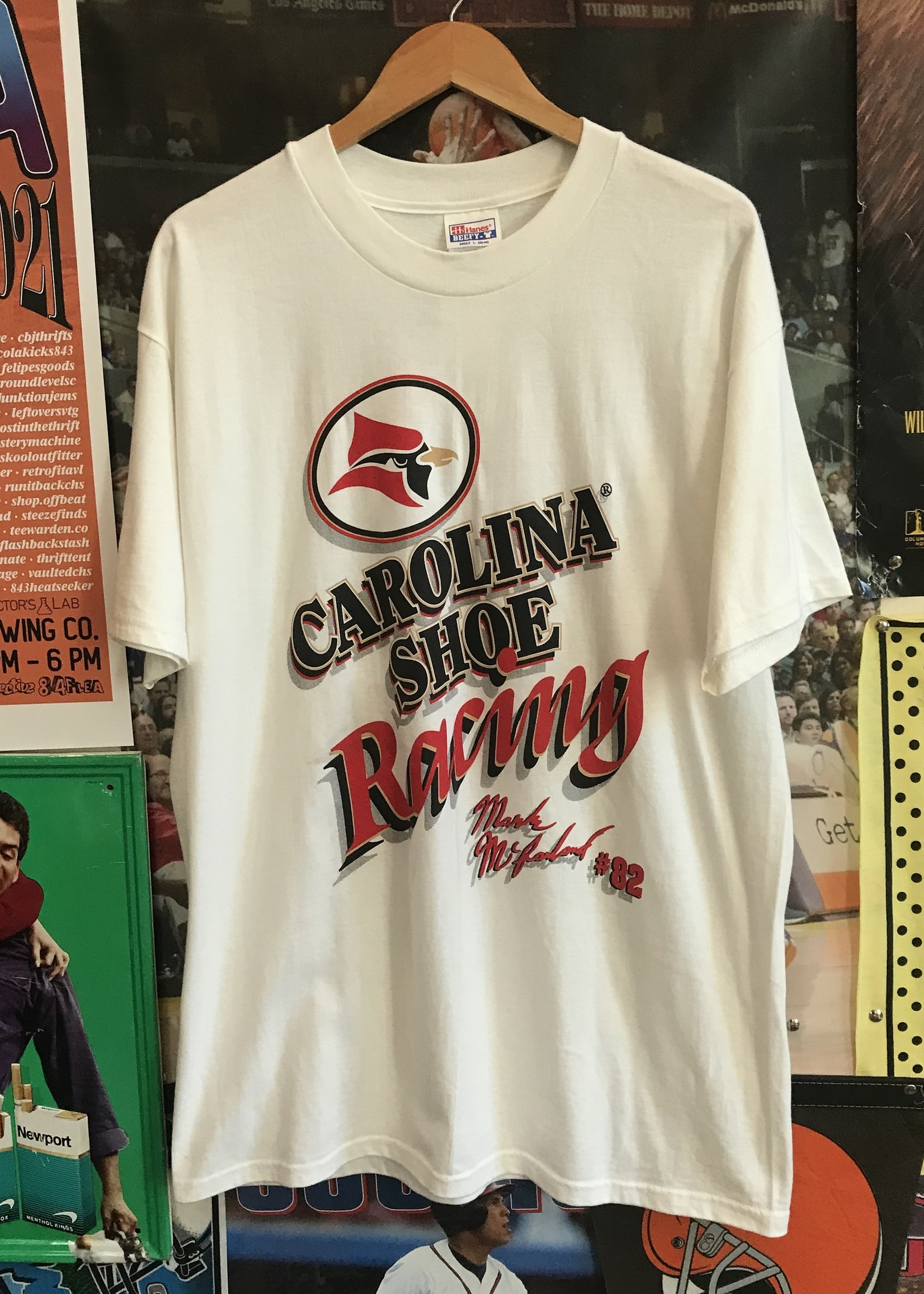 47621998 carolina shoe racing tee white sz L